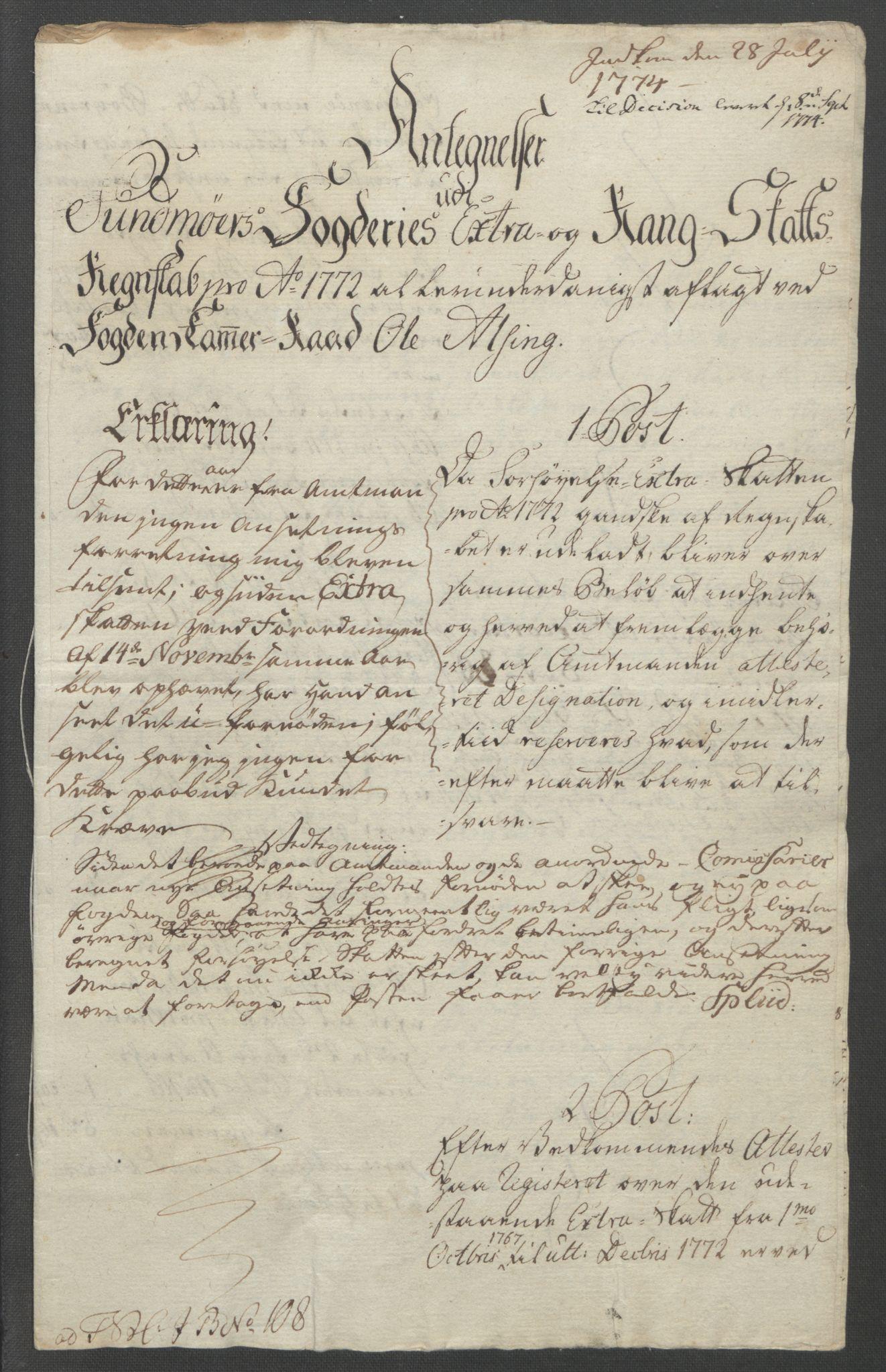 RA, Rentekammeret inntil 1814, Reviderte regnskaper, Fogderegnskap, R54/L3645: Ekstraskatten Sunnmøre, 1762-1772, s. 347