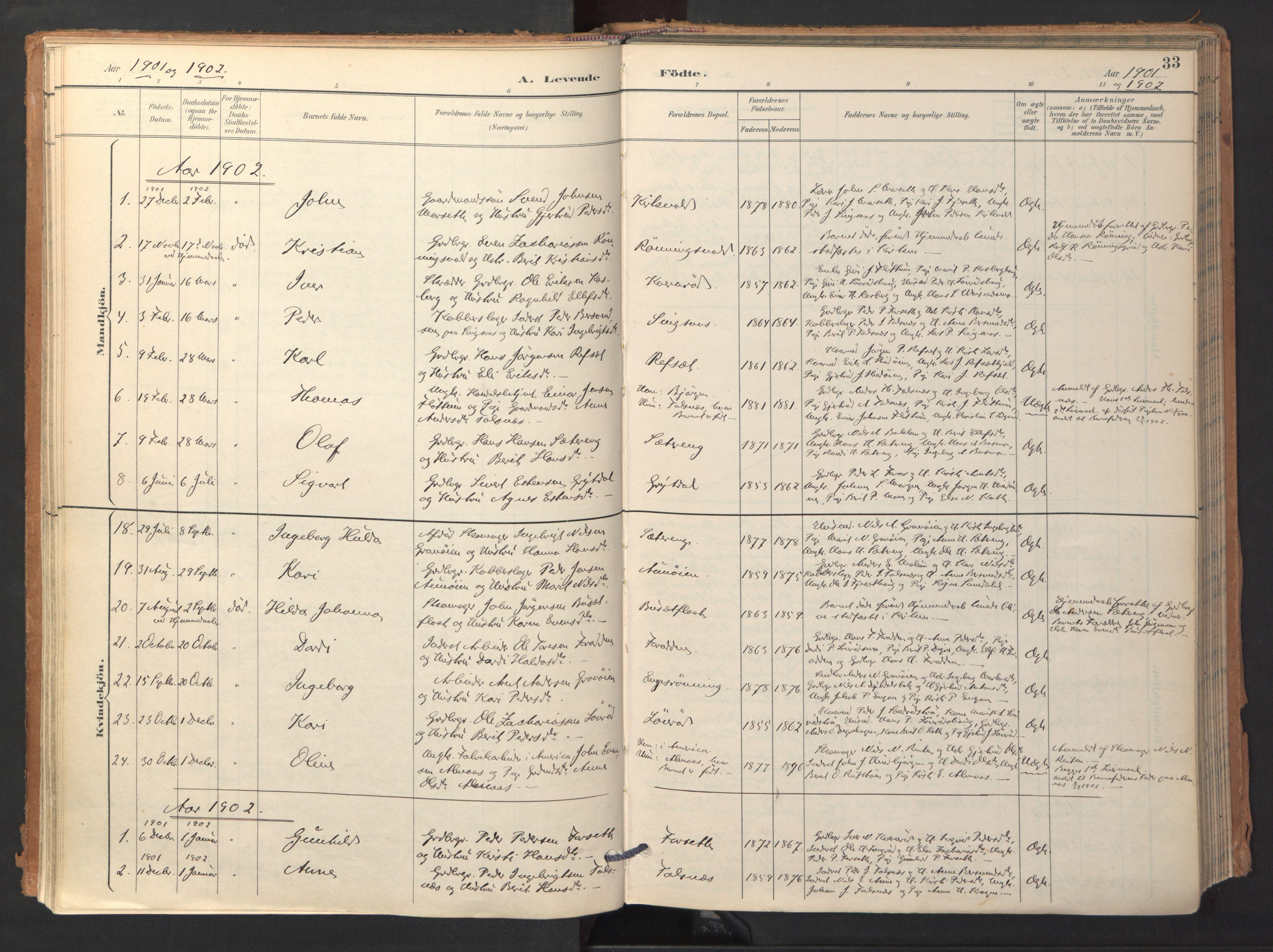 SAT, Ministerialprotokoller, klokkerbøker og fødselsregistre - Sør-Trøndelag, 688/L1025: Ministerialbok nr. 688A02, 1891-1909, s. 33