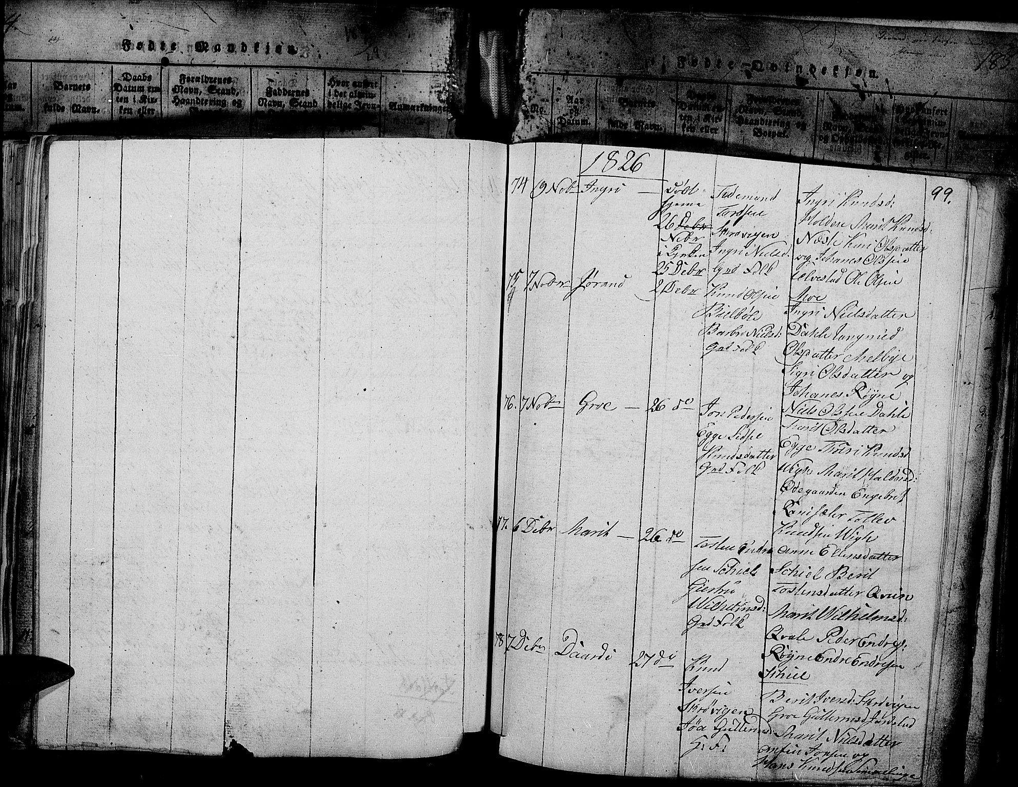 SAH, Slidre prestekontor, Ministerialbok nr. 2, 1814-1830, s. 187w
