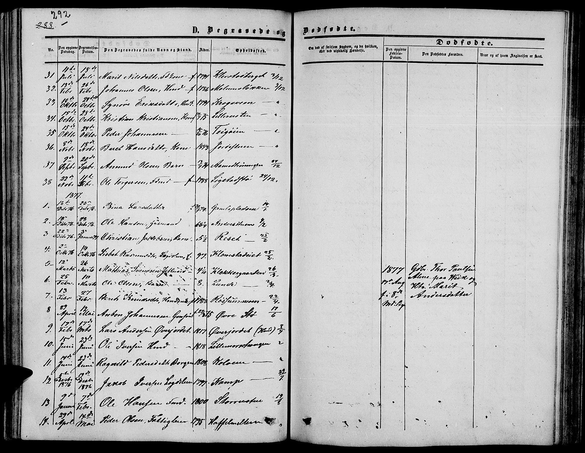 SAH, Nord-Fron prestekontor, Klokkerbok nr. 3, 1851-1886, s. 292