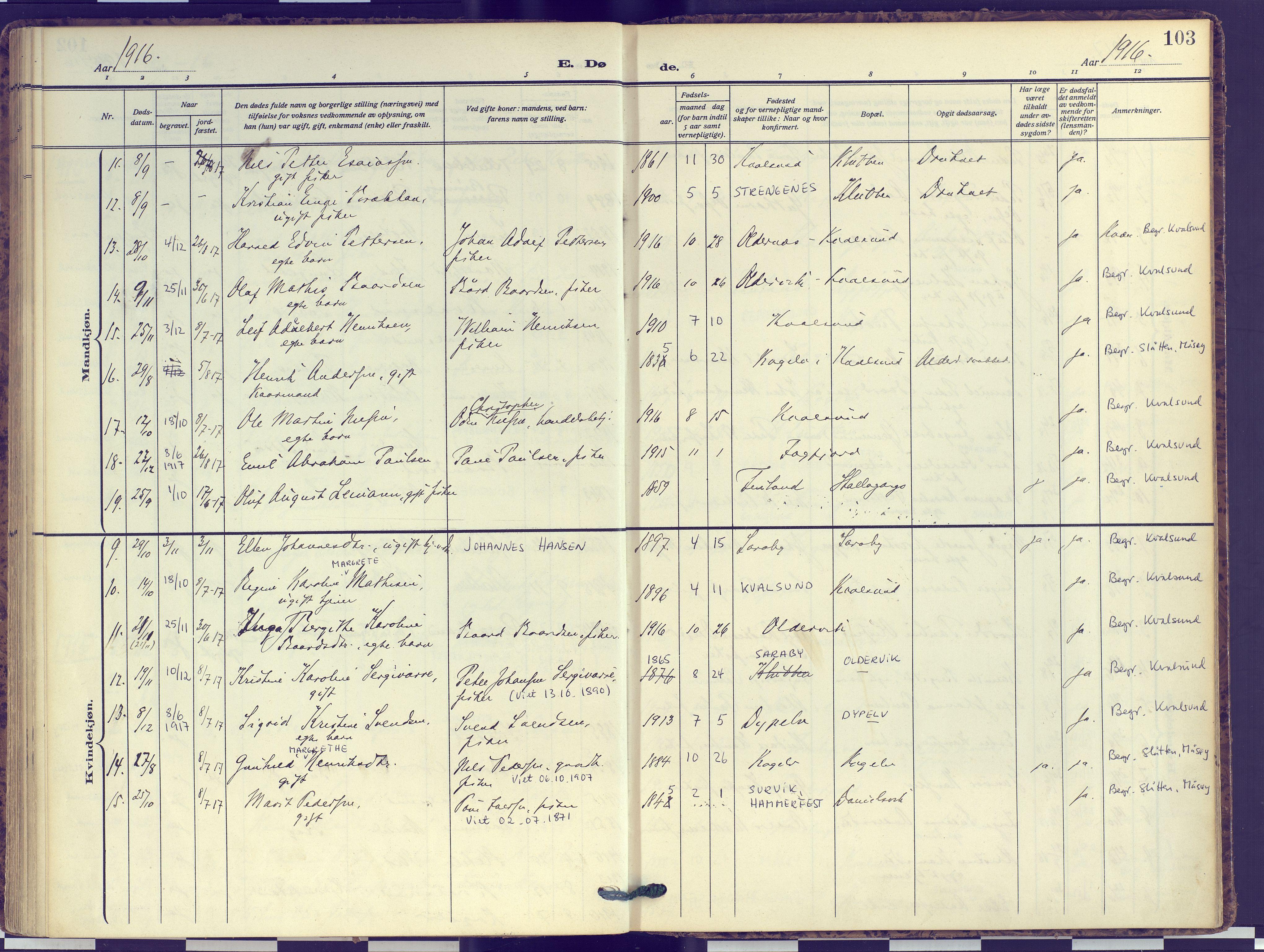 SATØ, Hammerfest sokneprestembete, Ministerialbok nr. 16, 1908-1923, s. 103