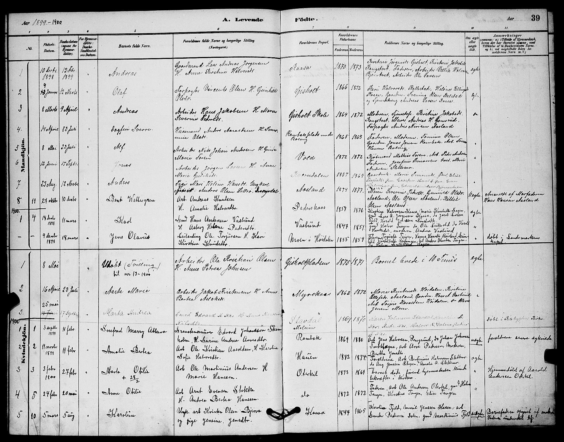 SAKO, Solum kirkebøker, G/Gc/L0001: Klokkerbok nr. III 1, 1880-1902, s. 39