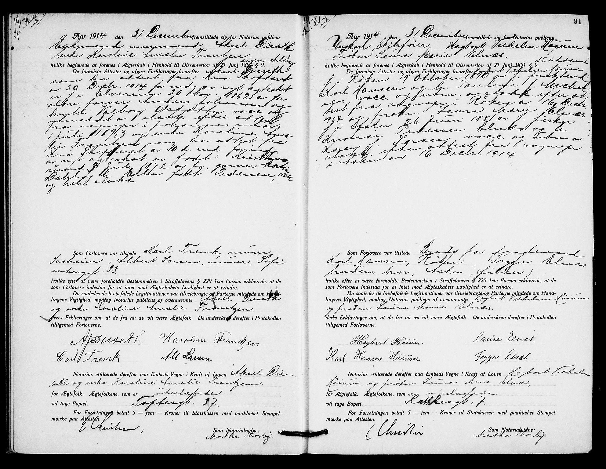 SAO, Oslo byfogd avd. I, L/Lb/Lbb/L0010: Notarialprotokoll, rekke II: Vigsler, 1914-1916, s. 30b-31a