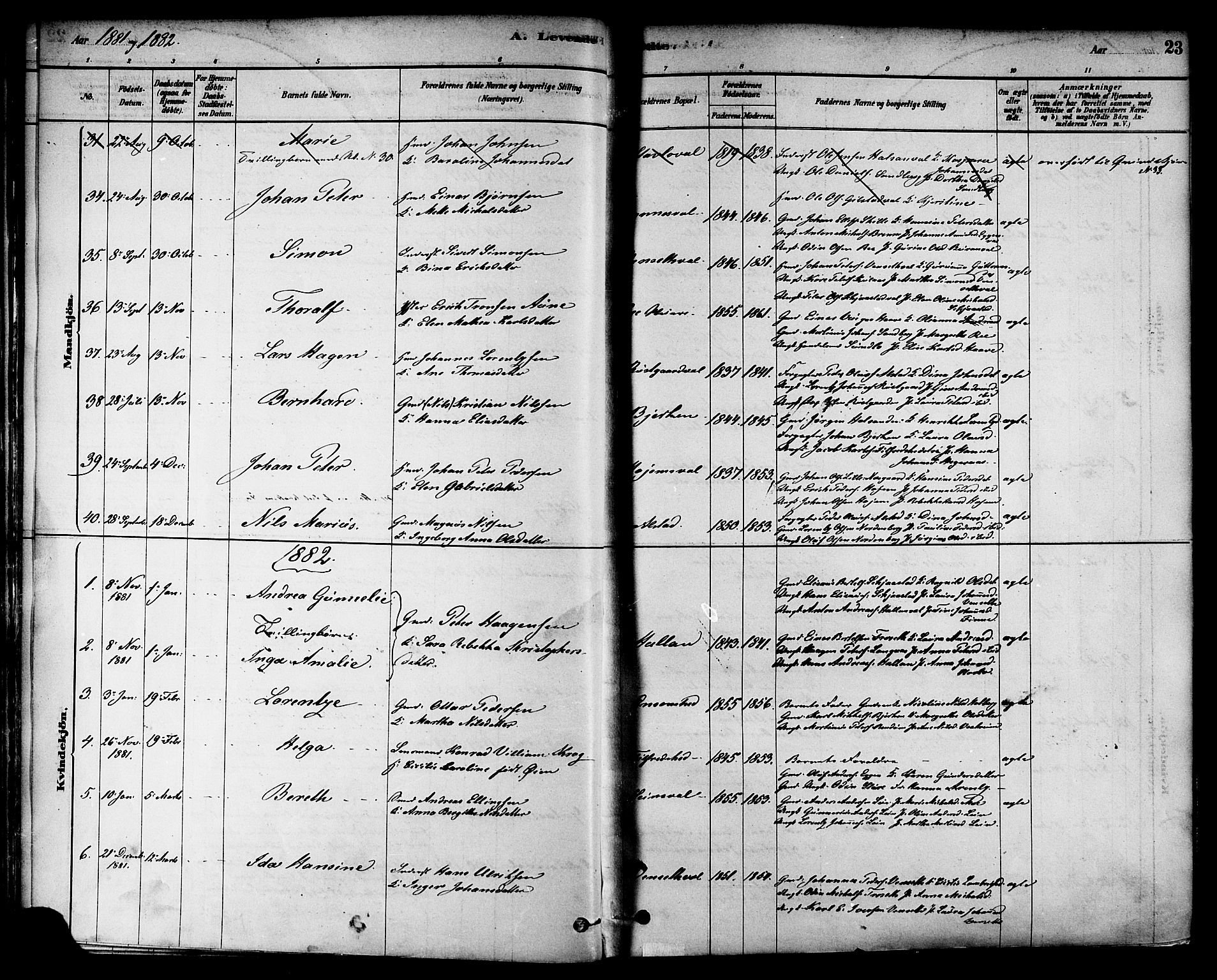 SAT, Ministerialprotokoller, klokkerbøker og fødselsregistre - Nord-Trøndelag, 717/L0159: Ministerialbok nr. 717A09, 1878-1898, s. 23