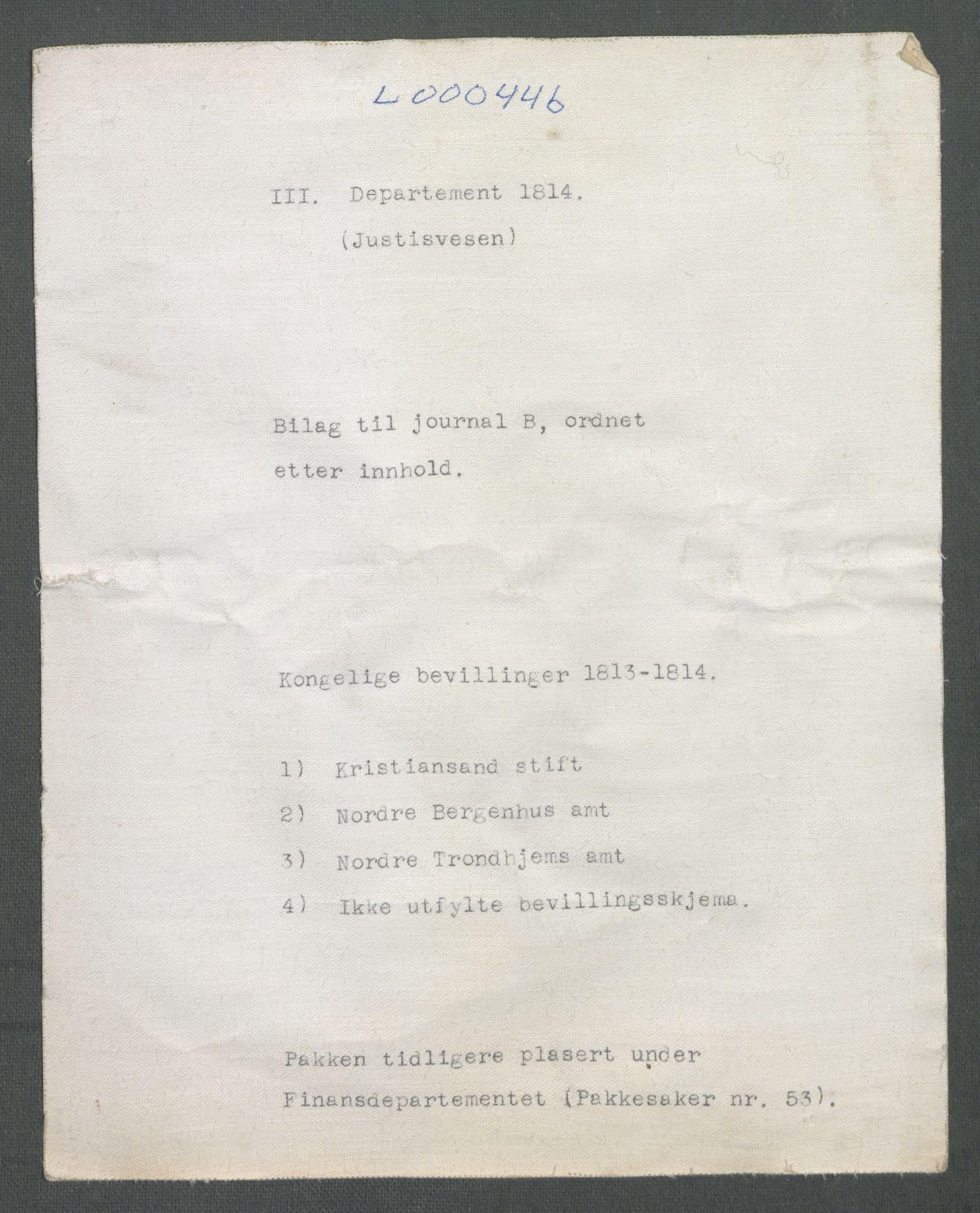RA, Departementene i 1814, Fc/L0044: Journalsaker B 451-908, 1813-1814, s. 2