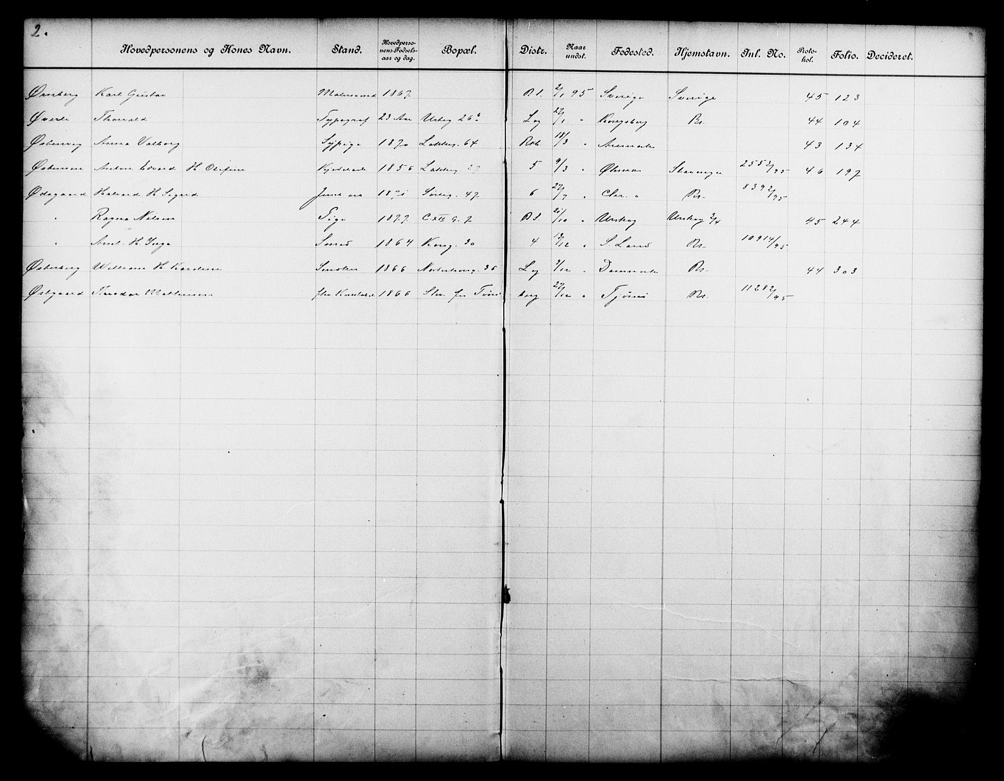 OBA, Fattigvesenet, Fb/L0015: Hjemstavnsregister, 1895, s. 174