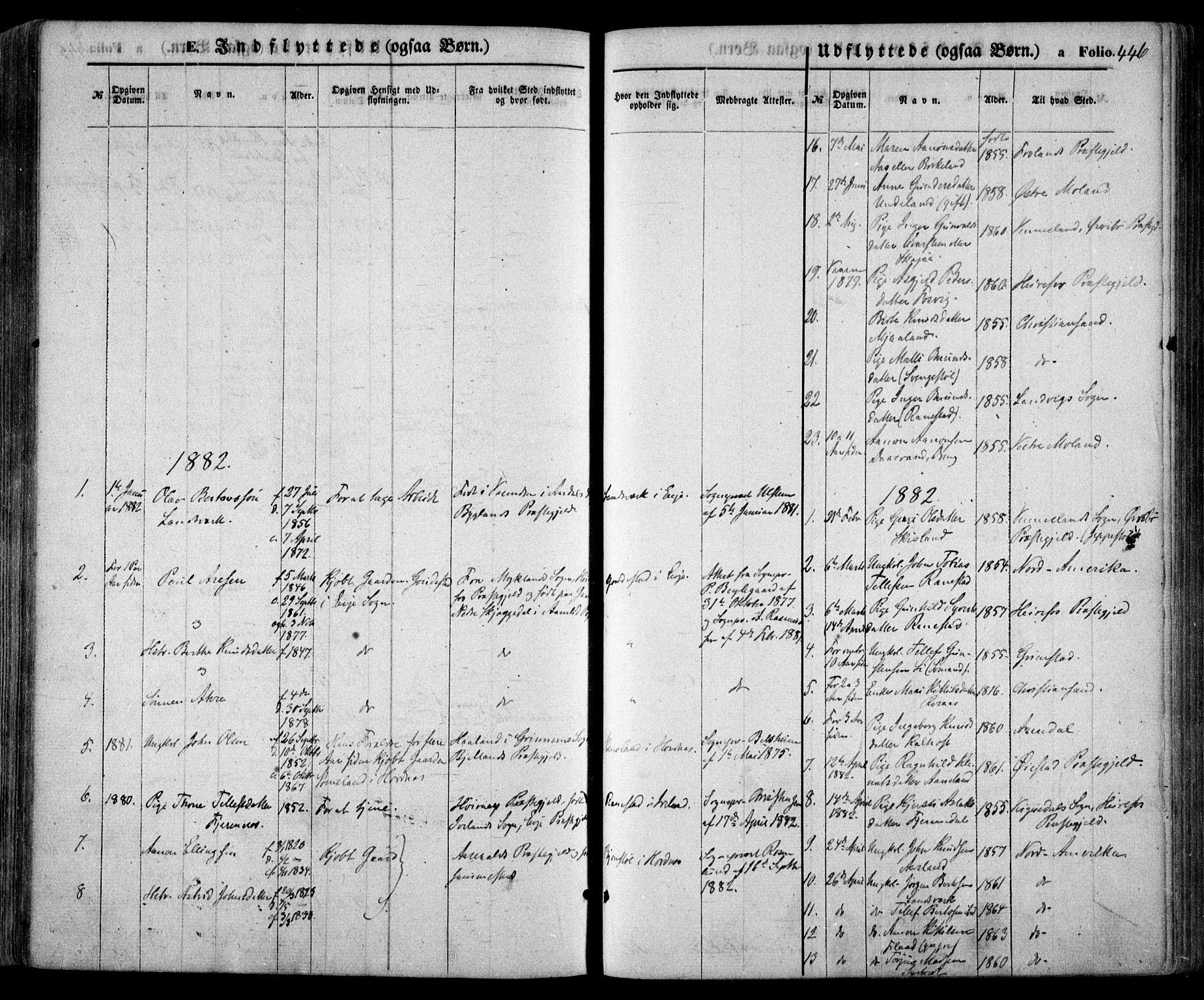 SAK, Evje sokneprestkontor, F/Fa/Faa/L0006: Ministerialbok nr. A 6, 1866-1884, s. 446