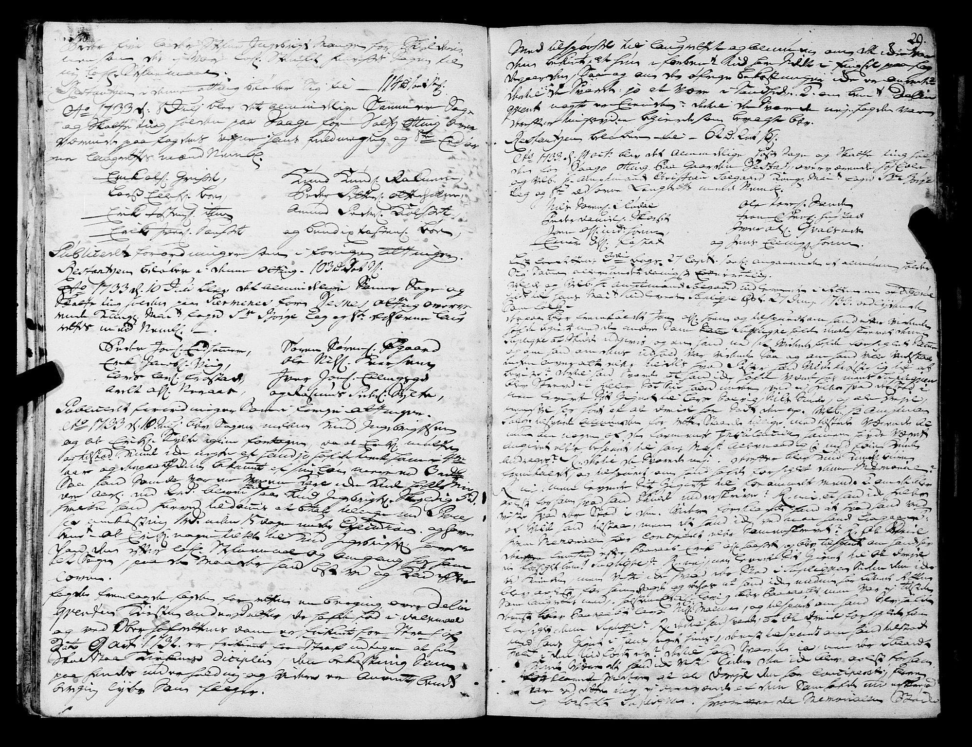 SAT, Romsdal sorenskriveri, 1/1A/L0011: Tingbok, 1732-1740, s. 28b-29a