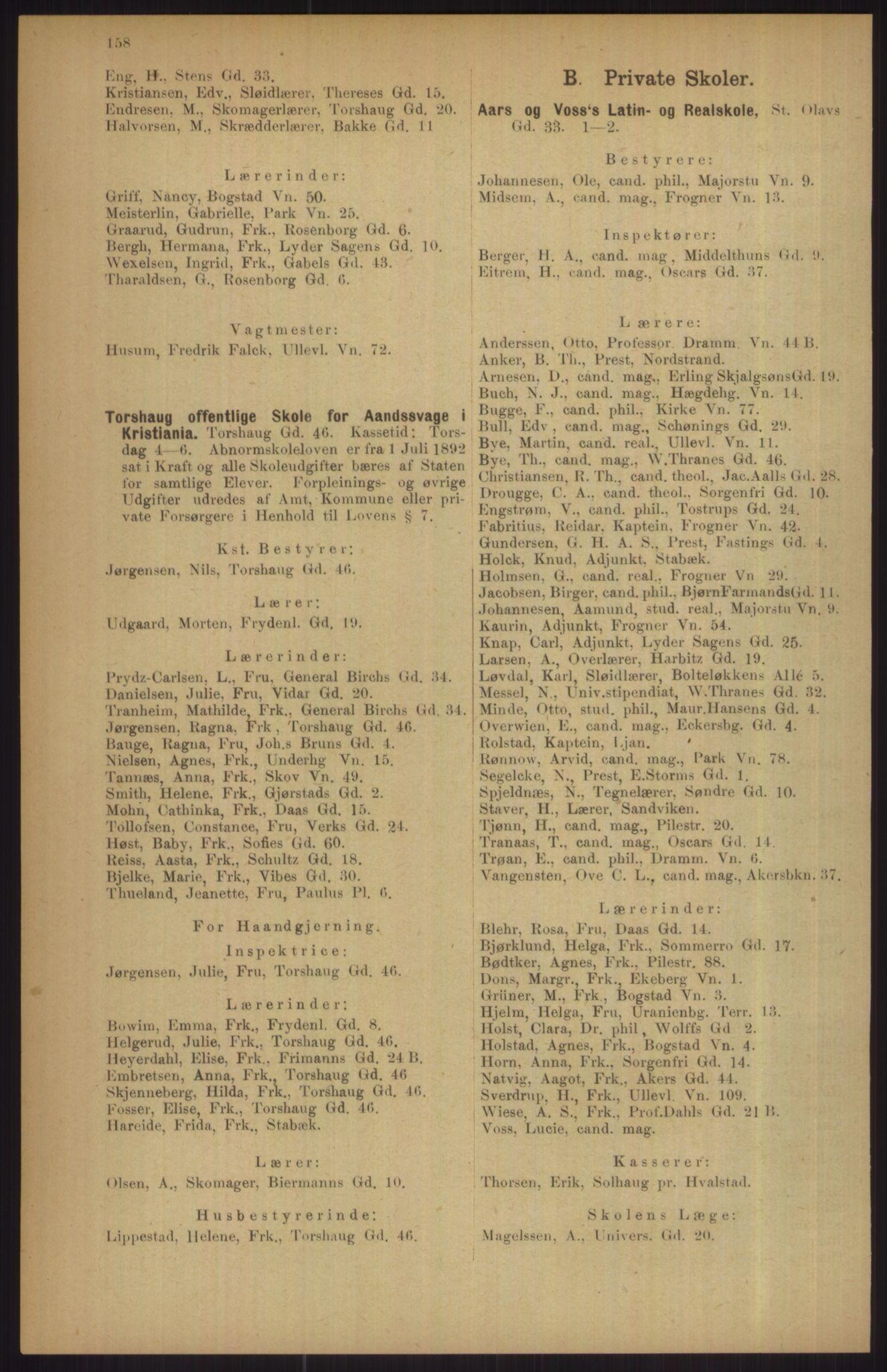 RA, Kristiania adressebok (publikasjon)*, 1911, s. 158