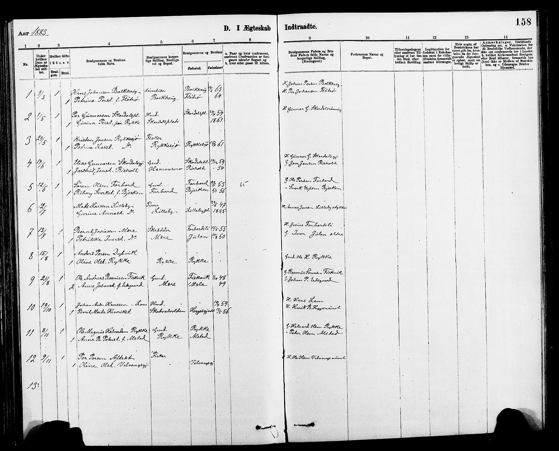 SAT, Ministerialprotokoller, klokkerbøker og fødselsregistre - Nord-Trøndelag, 712/L0103: Klokkerbok nr. 712C01, 1878-1917, s. 158