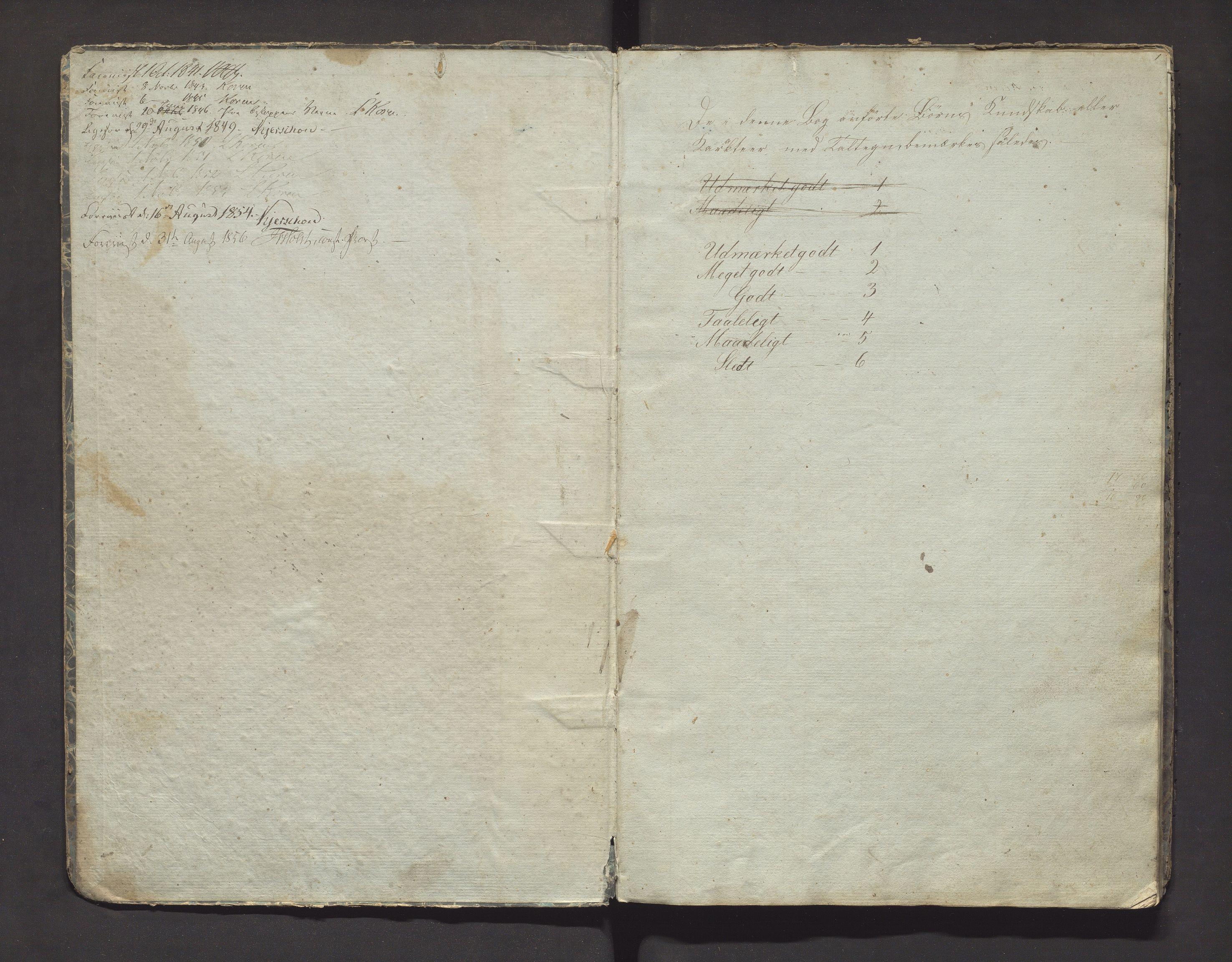 IKAH, Fjelberg kommune. Barneskulane, F/Fa/L0001: Skuleprotokoll for søndre distrikt i Fjelberg sokn, 1841-1855