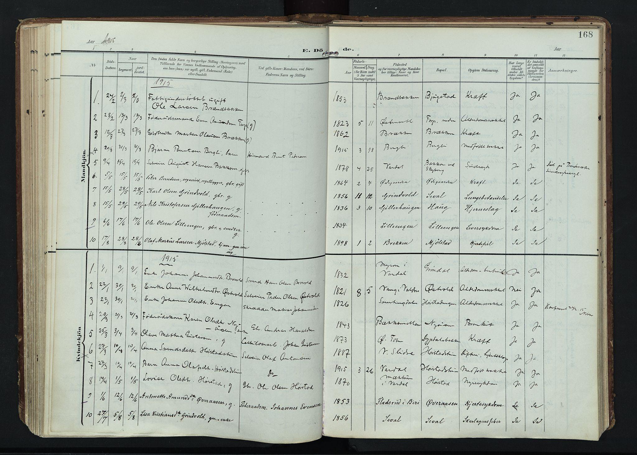 SAH, Vardal prestekontor, H/Ha/Haa/L0020: Ministerialbok nr. 20, 1907-1921, s. 168