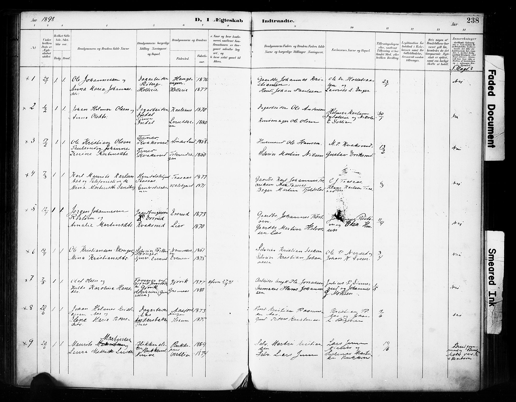 SAH, Vestre Toten prestekontor, Ministerialbok nr. 11, 1895-1906, s. 238