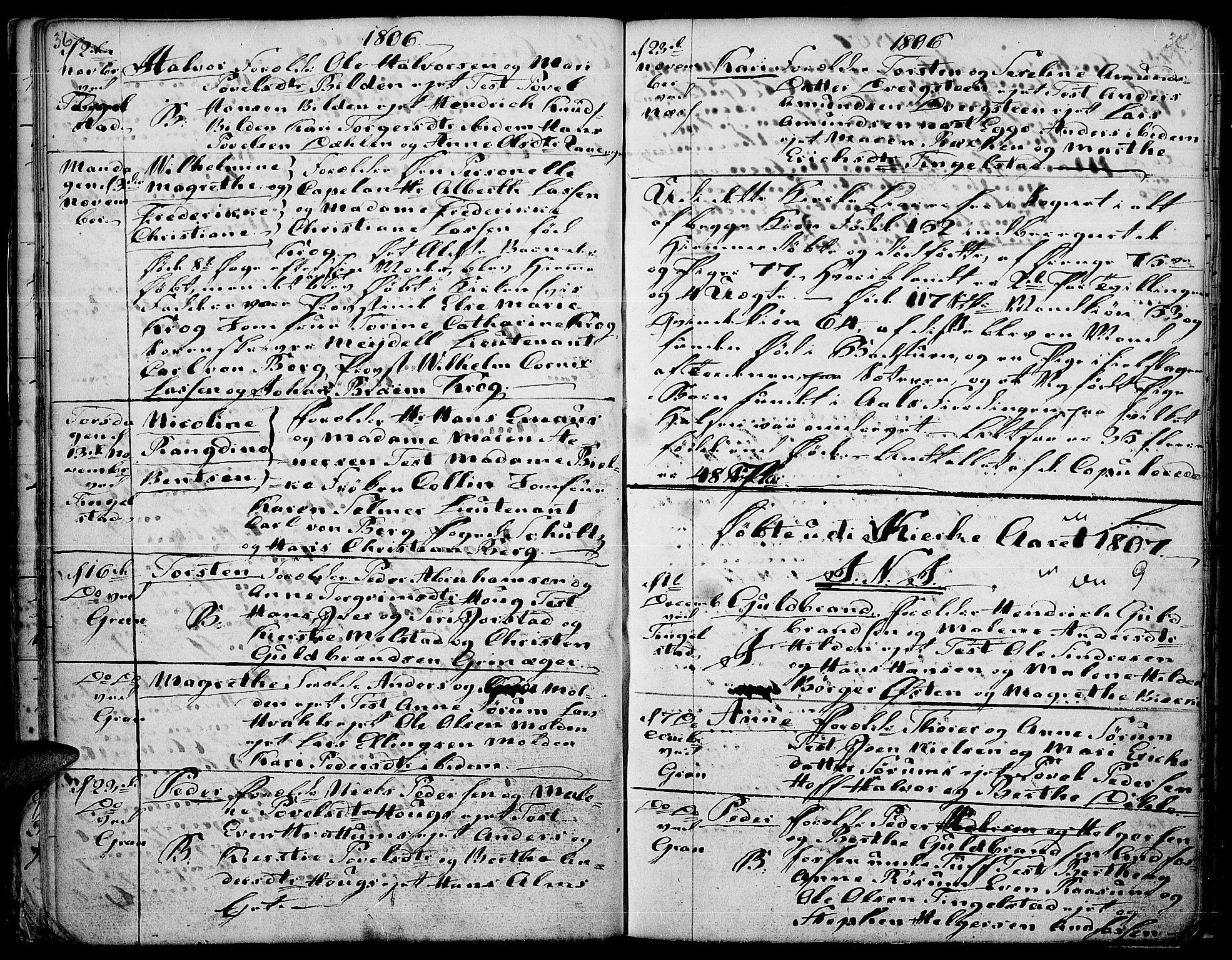 SAH, Gran prestekontor, Ministerialbok nr. 7, 1804-1815, s. 36-37