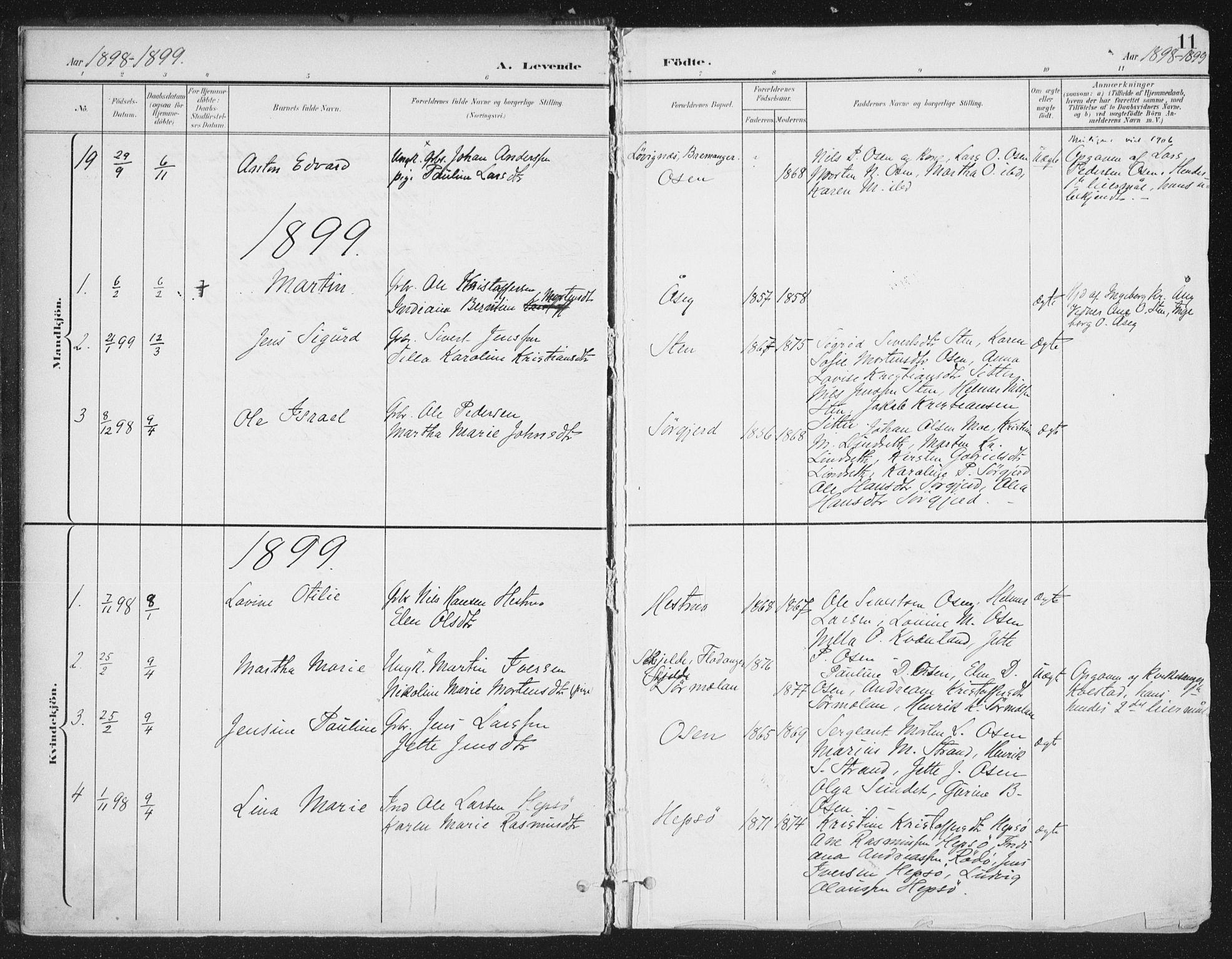 SAT, Ministerialprotokoller, klokkerbøker og fødselsregistre - Sør-Trøndelag, 658/L0723: Ministerialbok nr. 658A02, 1897-1912, s. 11