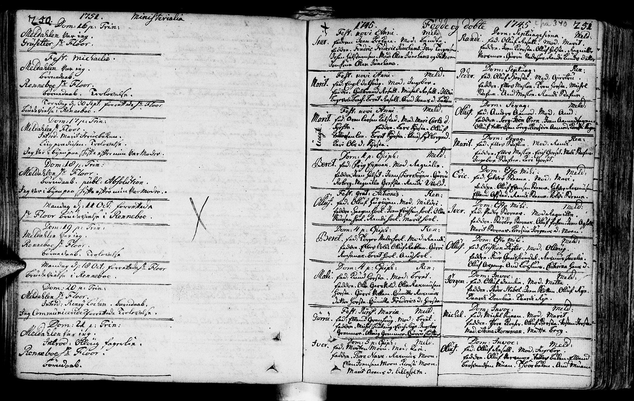 SAT, Ministerialprotokoller, klokkerbøker og fødselsregistre - Sør-Trøndelag, 672/L0850: Ministerialbok nr. 672A03, 1725-1751, s. 250-251