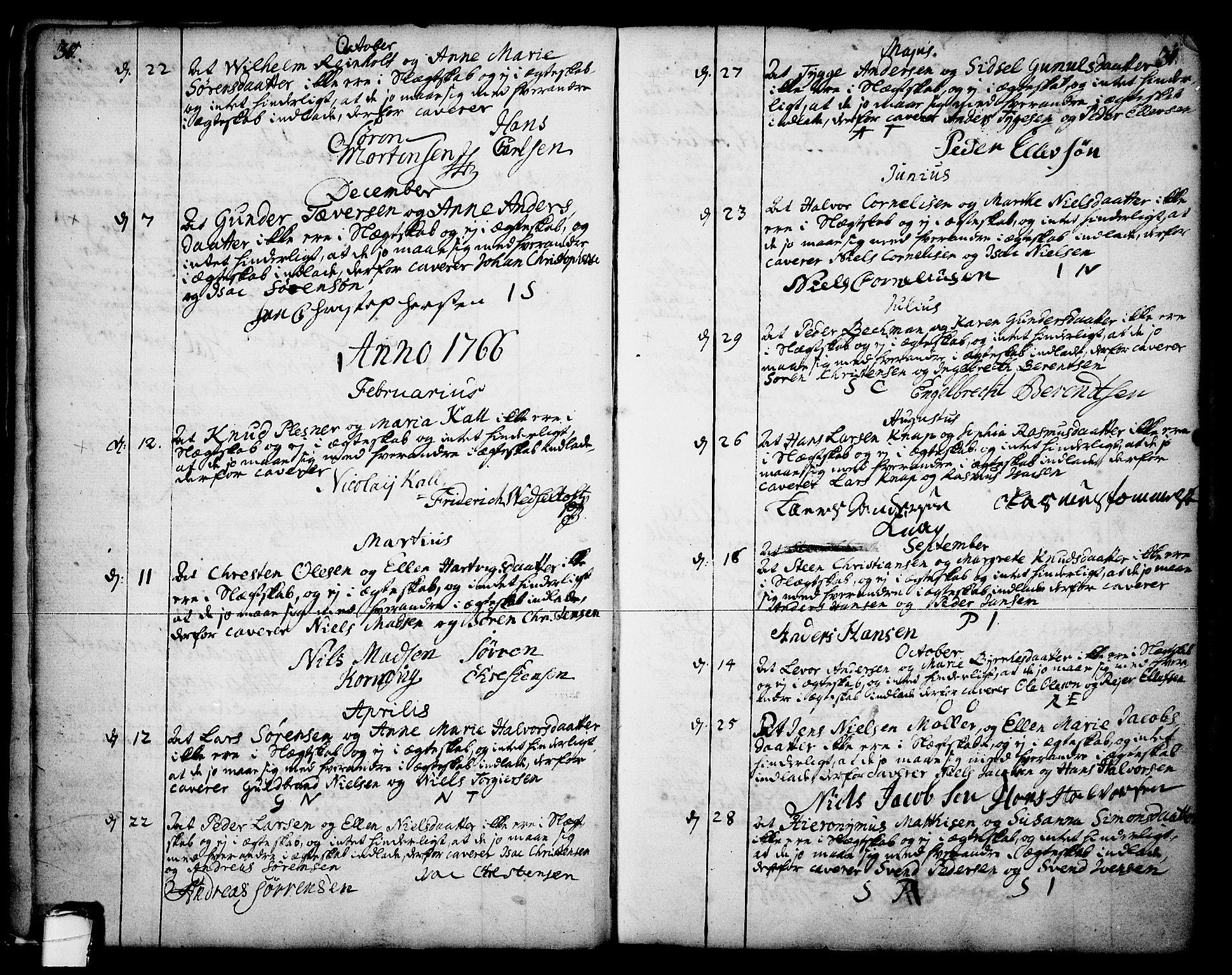 SAKO, Skien kirkebøker, F/Fa/L0003: Ministerialbok nr. 3, 1755-1791, s. 30-31