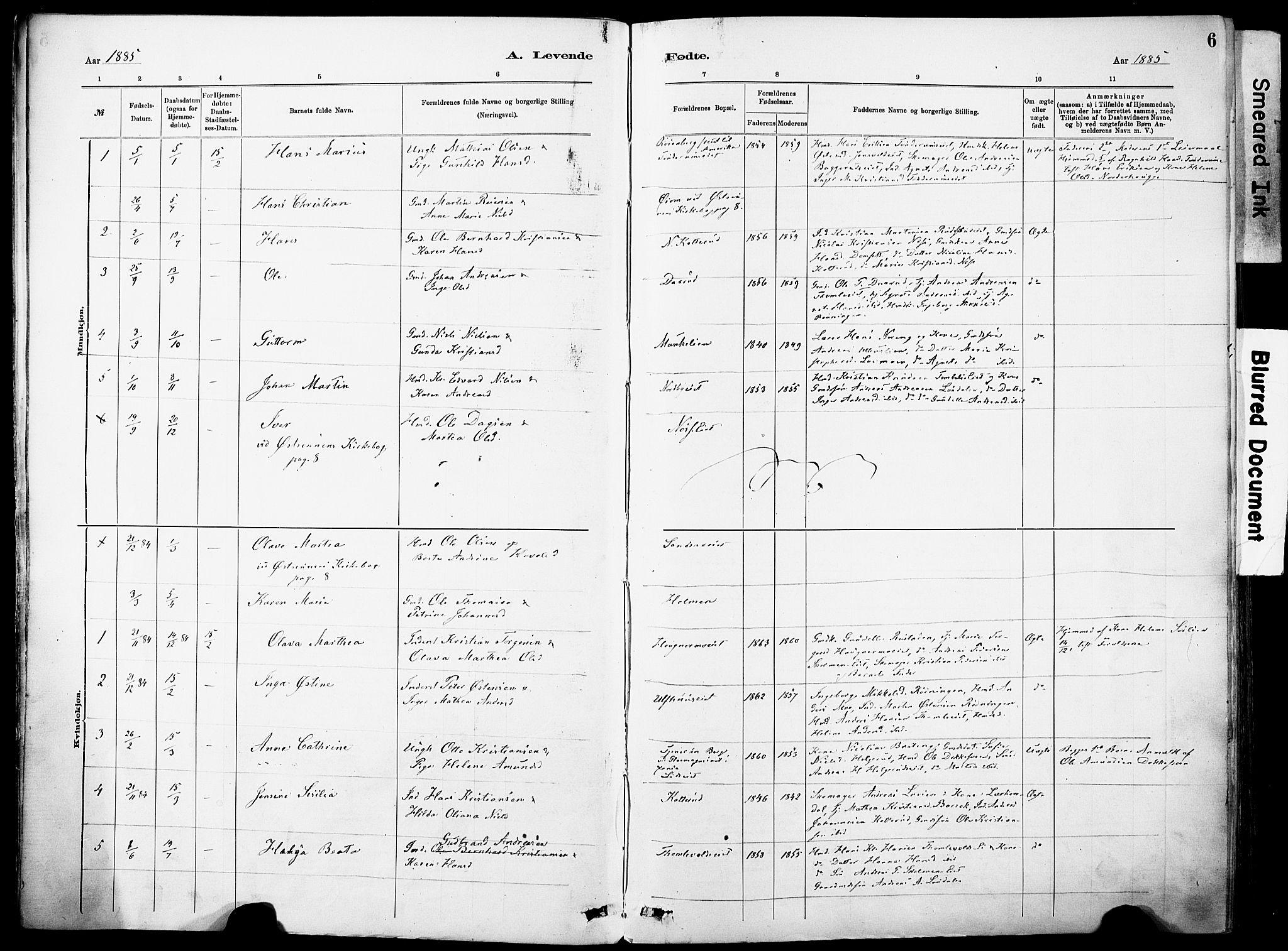 SAH, Nordre Land prestekontor, Ministerialbok nr. 5, 1882-1903, s. 6
