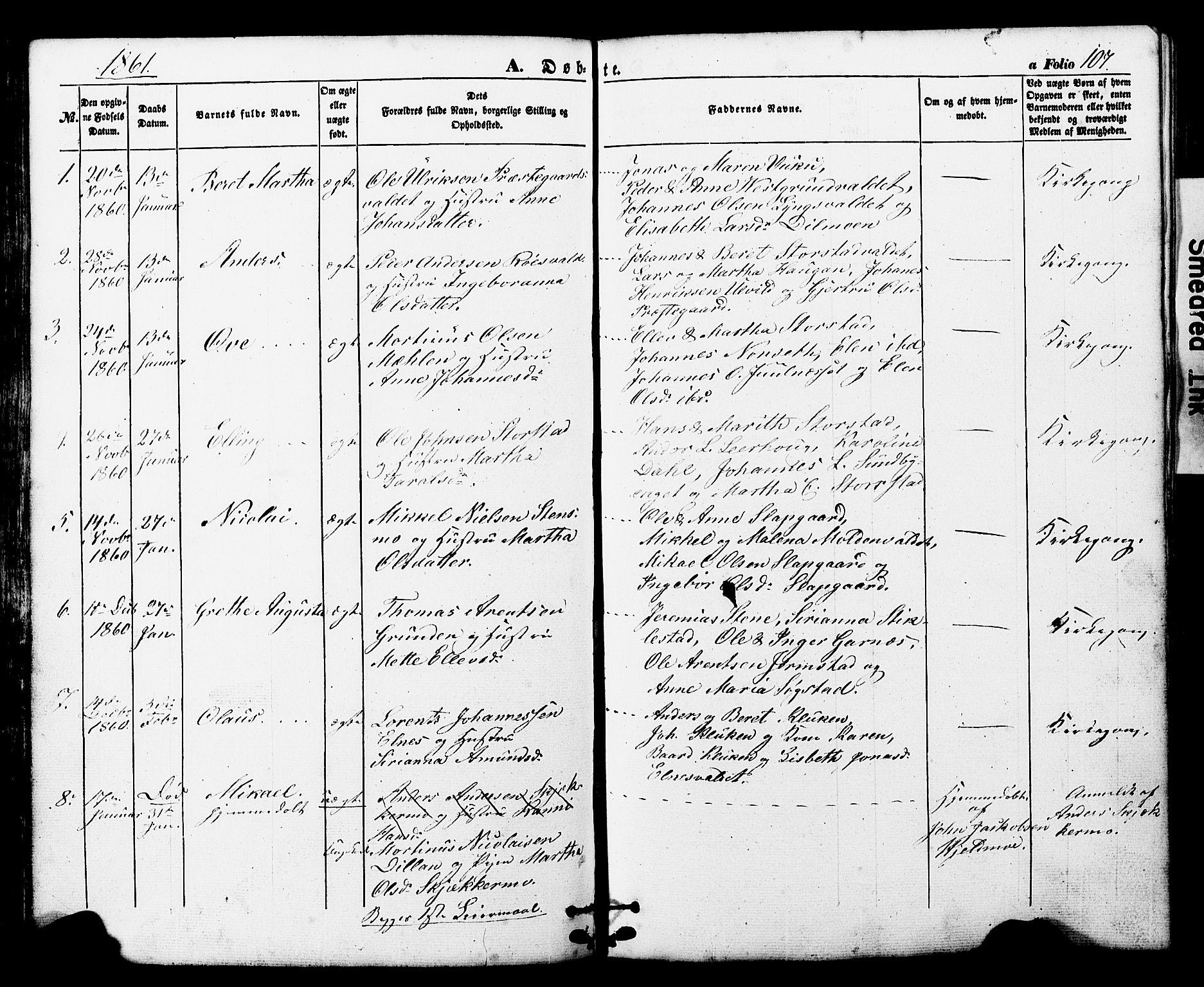 SAT, Ministerialprotokoller, klokkerbøker og fødselsregistre - Nord-Trøndelag, 724/L0268: Klokkerbok nr. 724C04, 1846-1878, s. 107