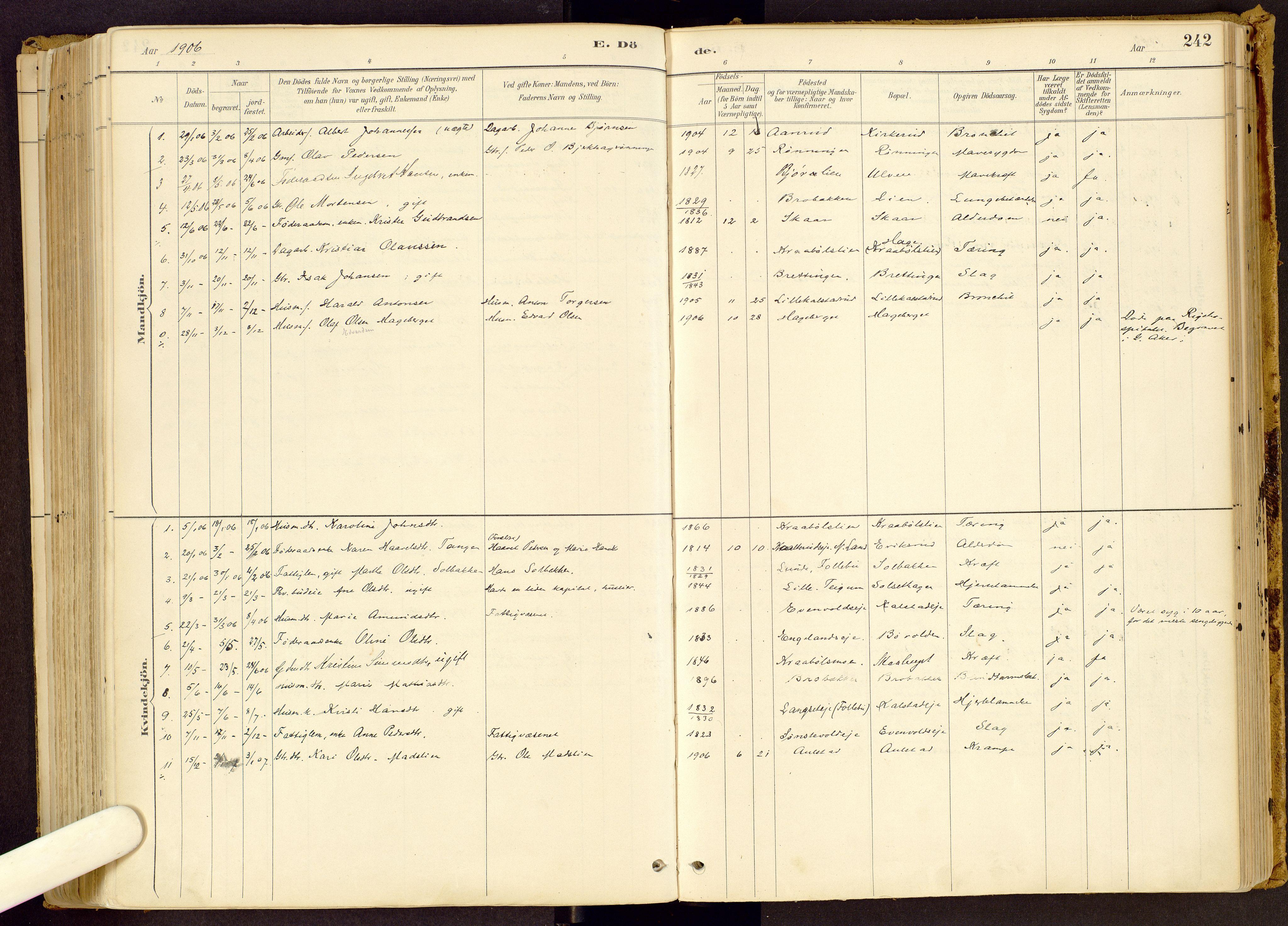 SAH, Vestre Gausdal prestekontor, Ministerialbok nr. 1, 1887-1914, s. 242