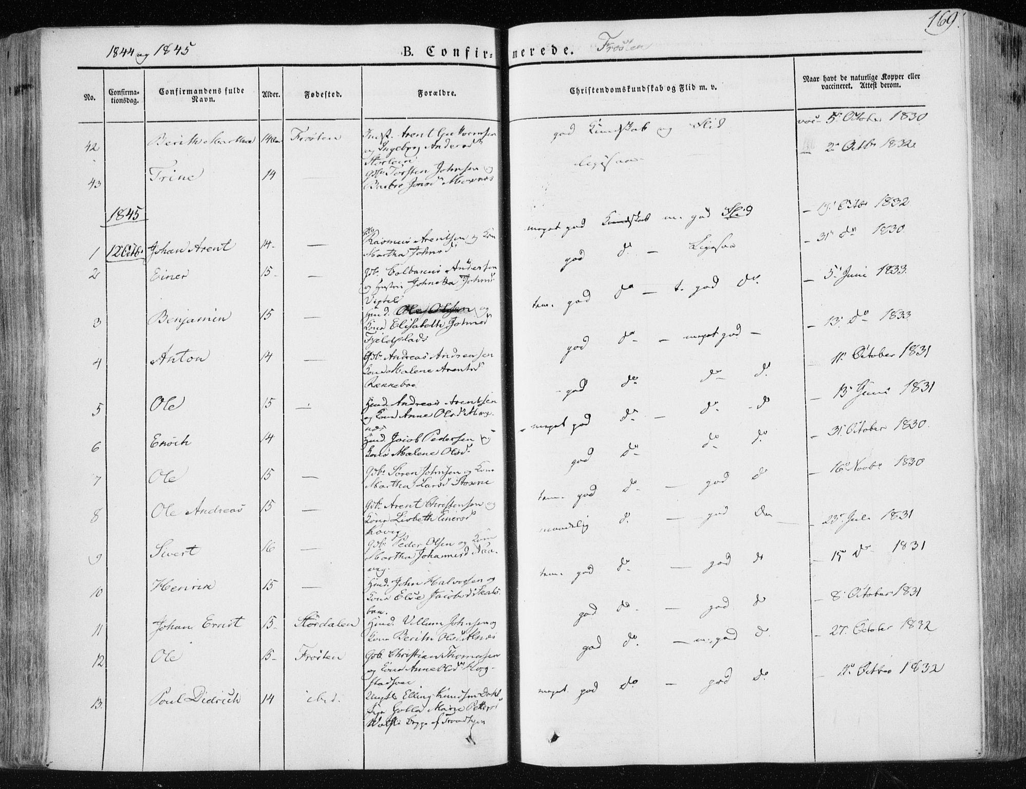SAT, Ministerialprotokoller, klokkerbøker og fødselsregistre - Nord-Trøndelag, 713/L0115: Ministerialbok nr. 713A06, 1838-1851, s. 169
