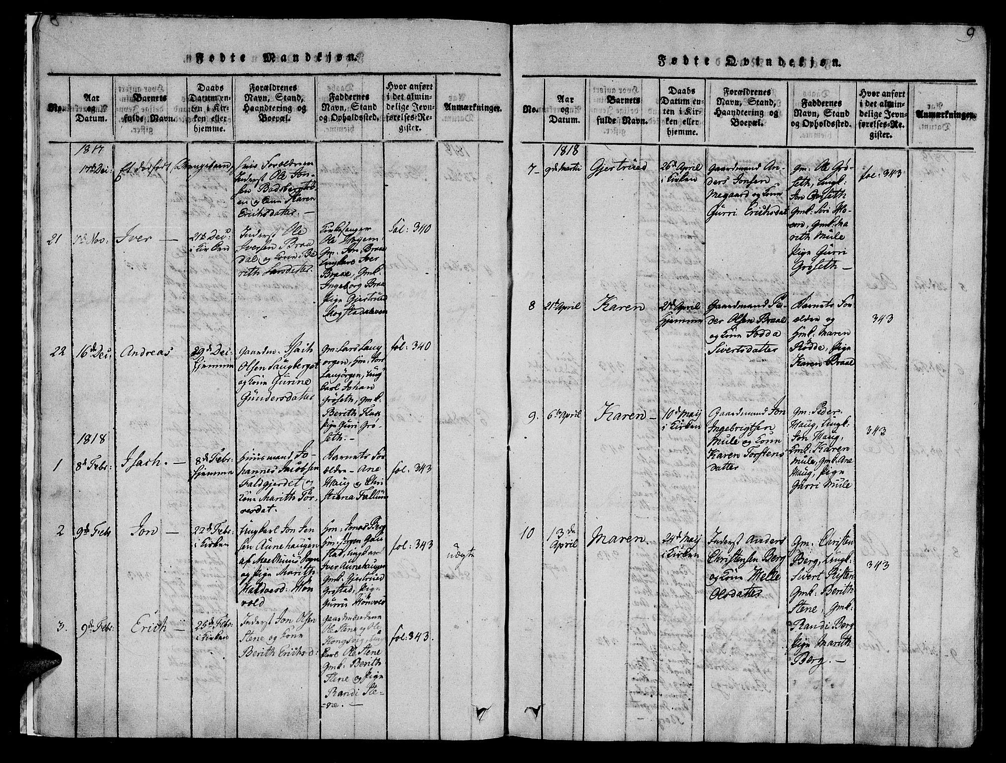 SAT, Ministerialprotokoller, klokkerbøker og fødselsregistre - Sør-Trøndelag, 612/L0372: Ministerialbok nr. 612A06 /1, 1816-1828, s. 9