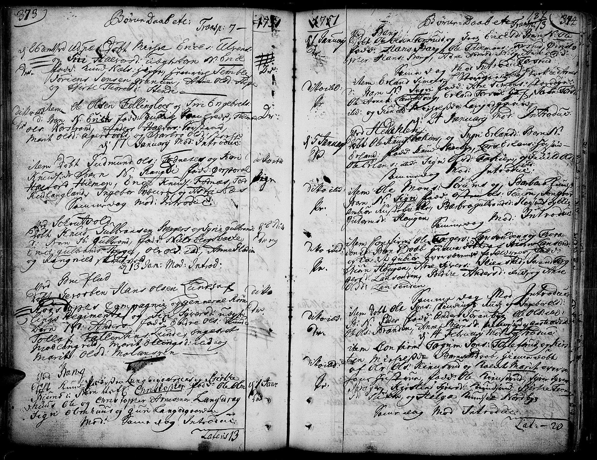 SAH, Aurdal prestekontor, Ministerialbok nr. 4, 1730-1762, s. 373-374