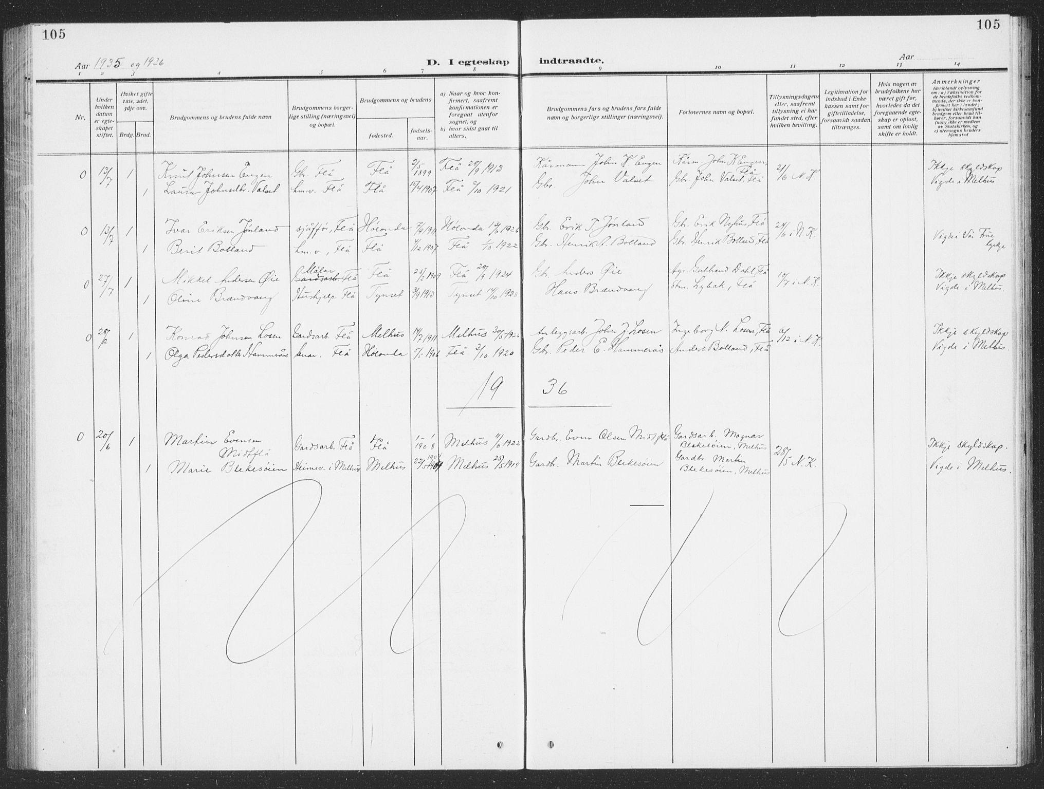 SAT, Ministerialprotokoller, klokkerbøker og fødselsregistre - Sør-Trøndelag, 693/L1124: Klokkerbok nr. 693C05, 1911-1941, s. 105