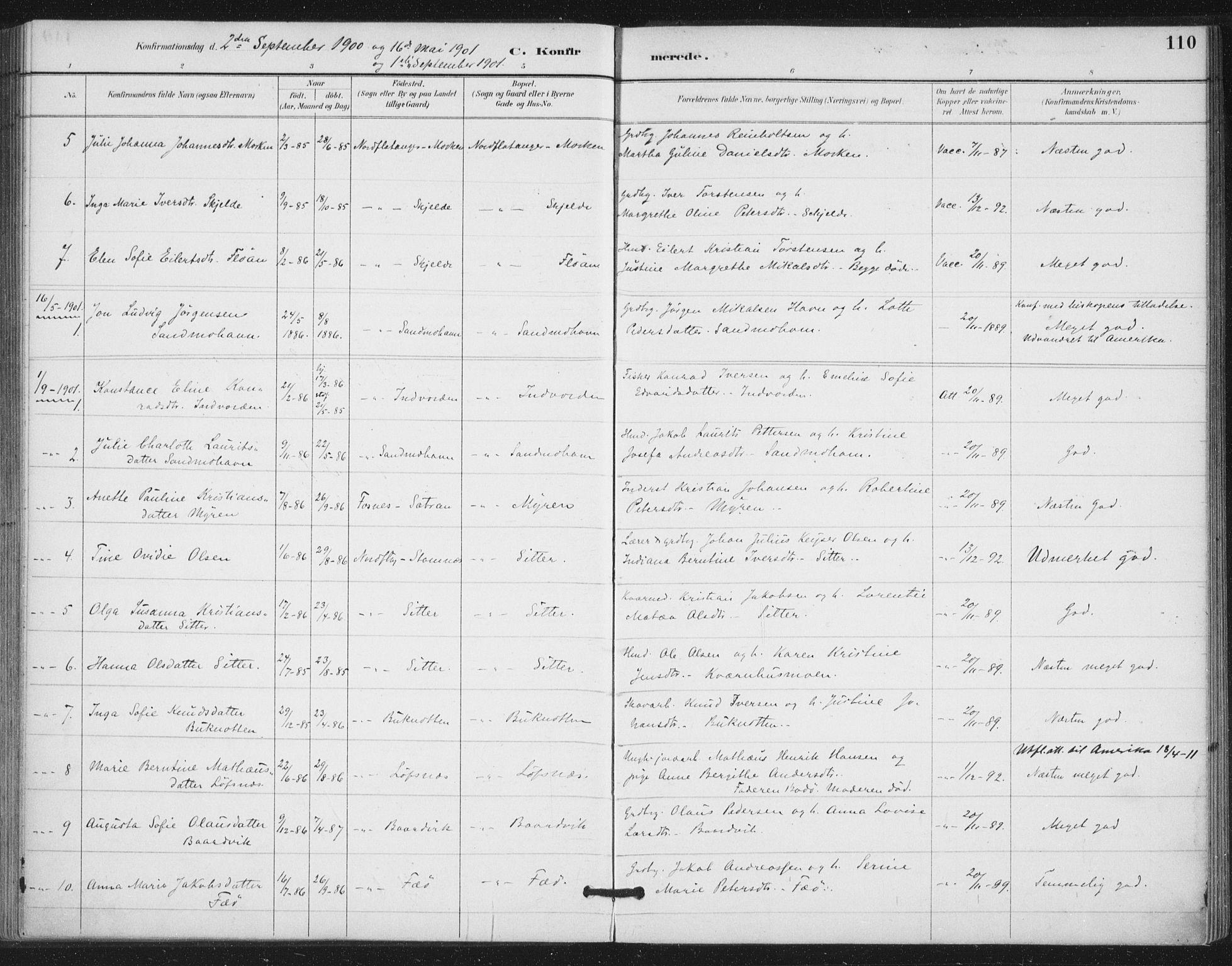 SAT, Ministerialprotokoller, klokkerbøker og fødselsregistre - Nord-Trøndelag, 772/L0603: Ministerialbok nr. 772A01, 1885-1912, s. 110