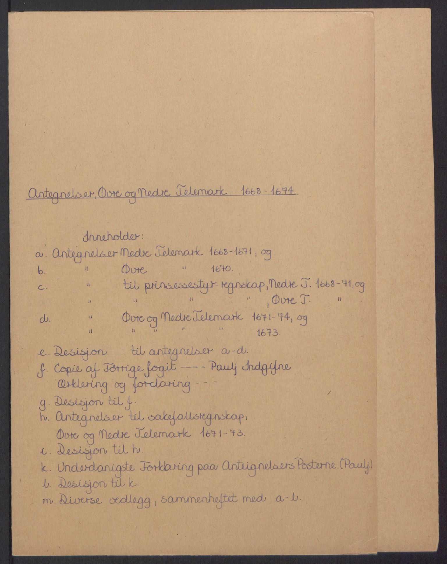 RA, Rentekammeret inntil 1814, Reviderte regnskaper, Fogderegnskap, R35/L2062: Fogderegnskap Øvre og Nedre Telemark, 1674, s. 2
