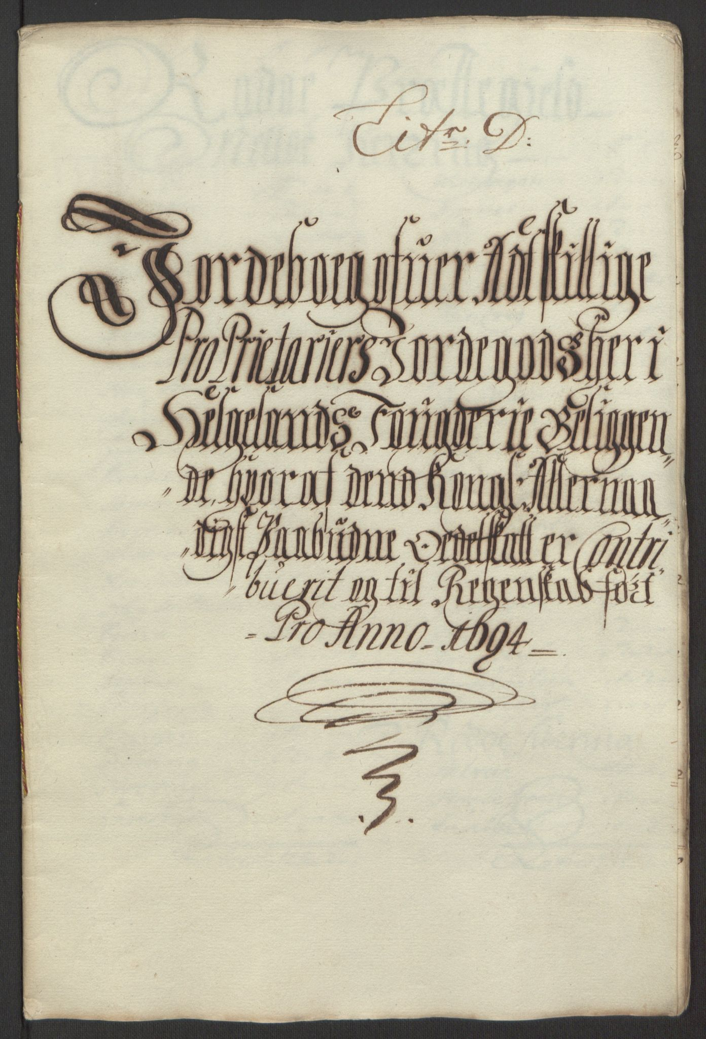 RA, Rentekammeret inntil 1814, Reviderte regnskaper, Fogderegnskap, R65/L4505: Fogderegnskap Helgeland, 1693-1696, s. 242