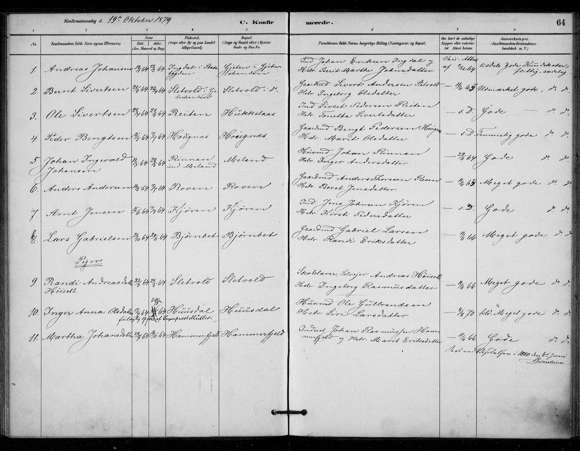 SAT, Ministerialprotokoller, klokkerbøker og fødselsregistre - Sør-Trøndelag, 670/L0836: Ministerialbok nr. 670A01, 1879-1904, s. 64