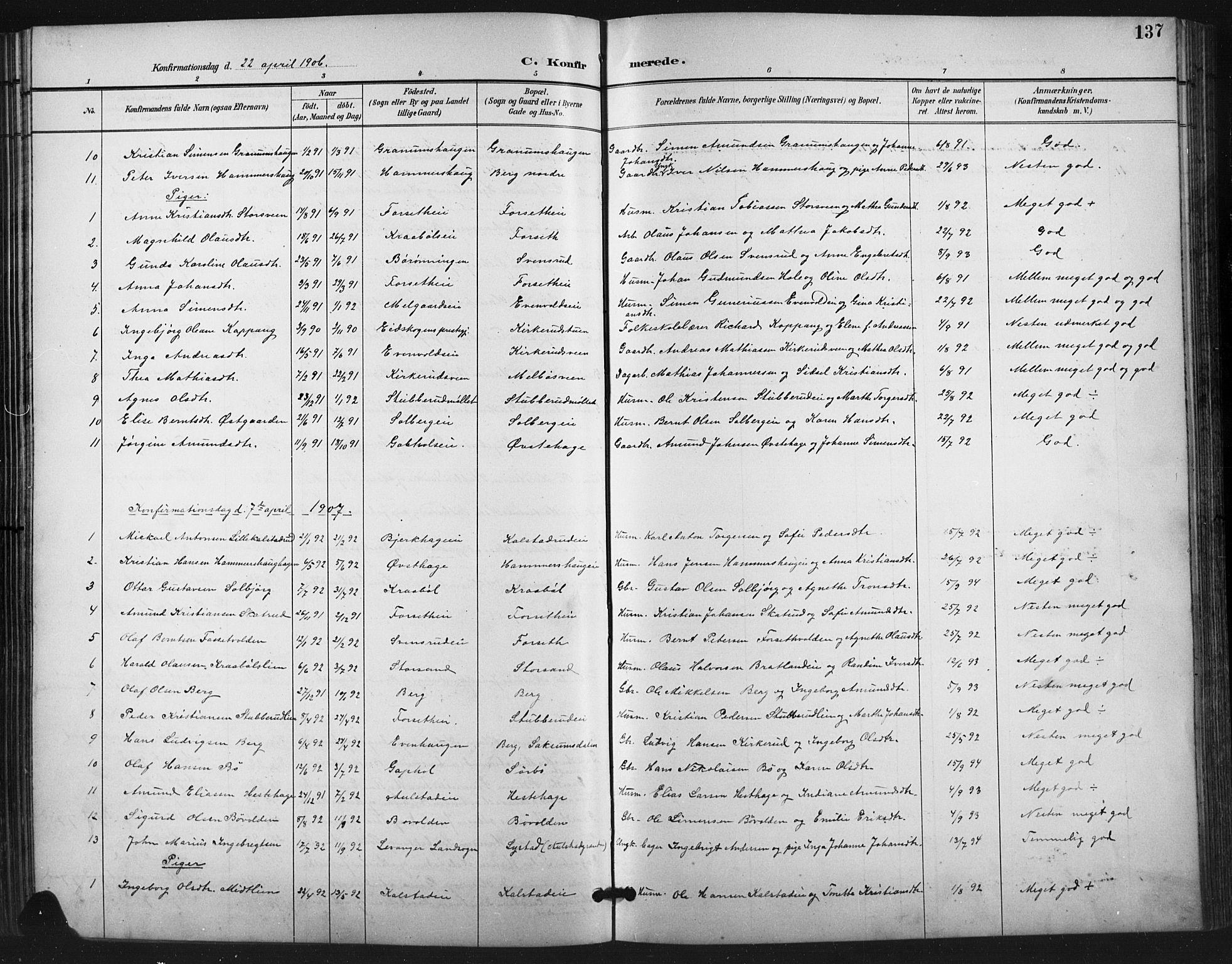 SAH, Vestre Gausdal prestekontor, Klokkerbok nr. 3, 1896-1925, s. 137