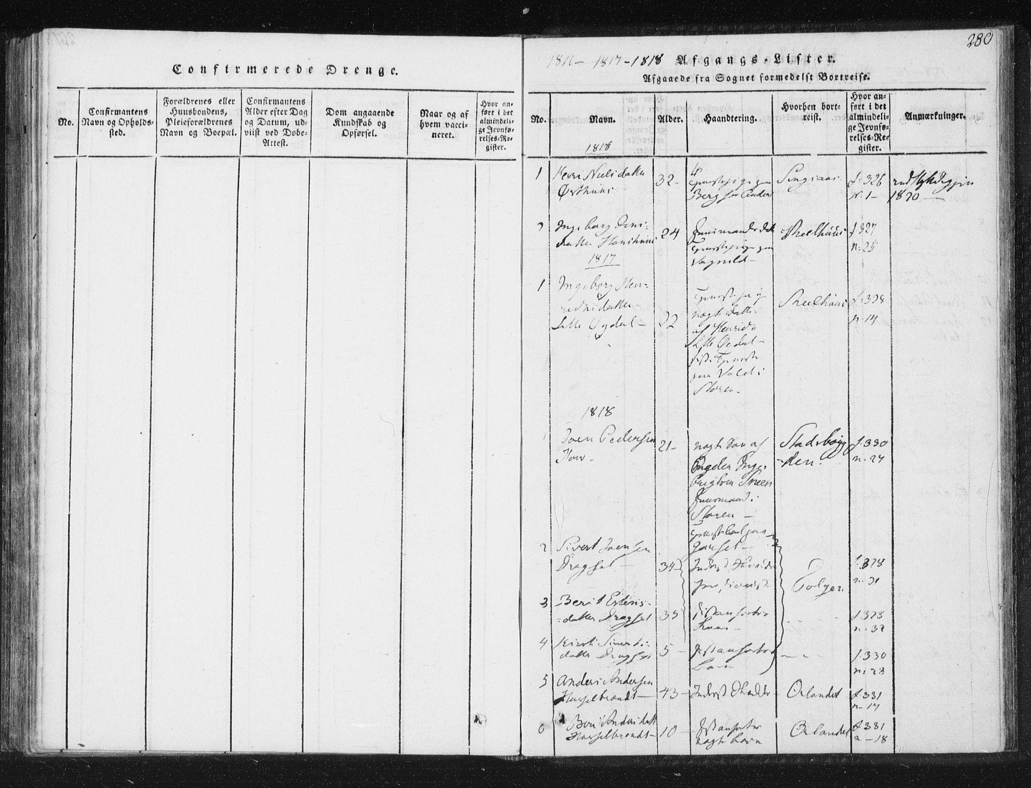 SAT, Ministerialprotokoller, klokkerbøker og fødselsregistre - Sør-Trøndelag, 689/L1037: Ministerialbok nr. 689A02, 1816-1842, s. 280
