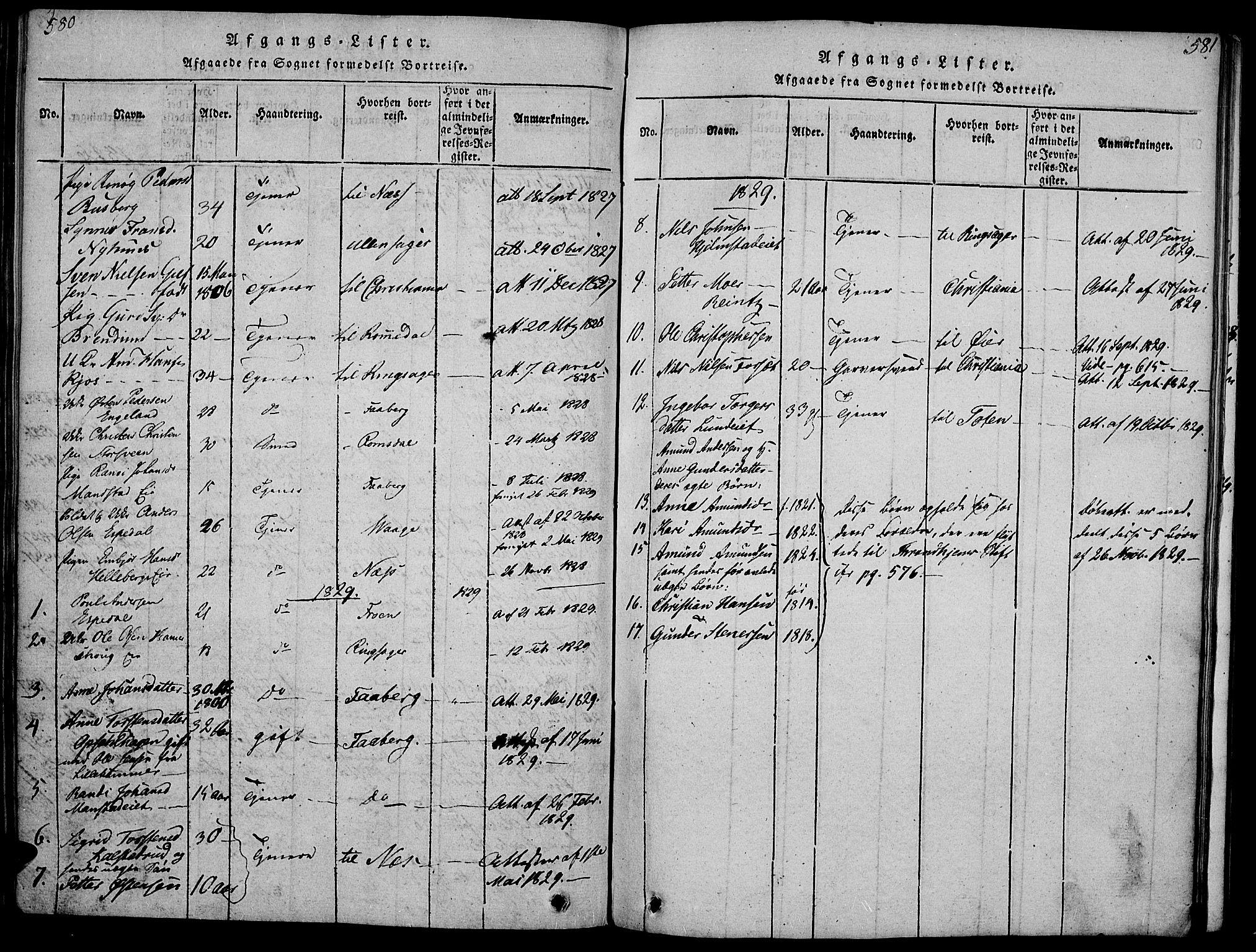SAH, Gausdal prestekontor, Ministerialbok nr. 5, 1817-1829, s. 580-581