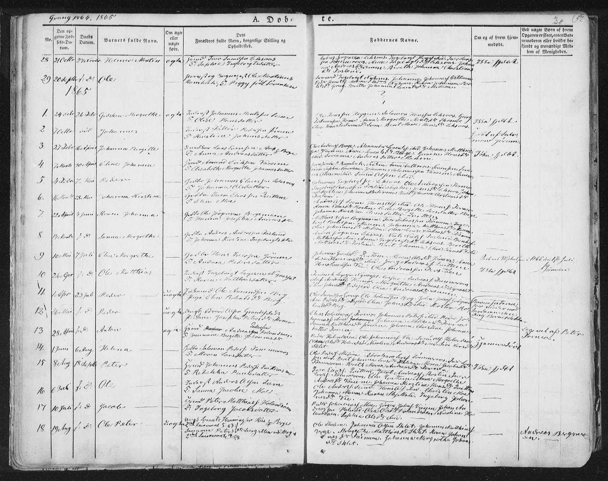 SAT, Ministerialprotokoller, klokkerbøker og fødselsregistre - Nord-Trøndelag, 758/L0513: Ministerialbok nr. 758A02 /1, 1839-1868, s. 30
