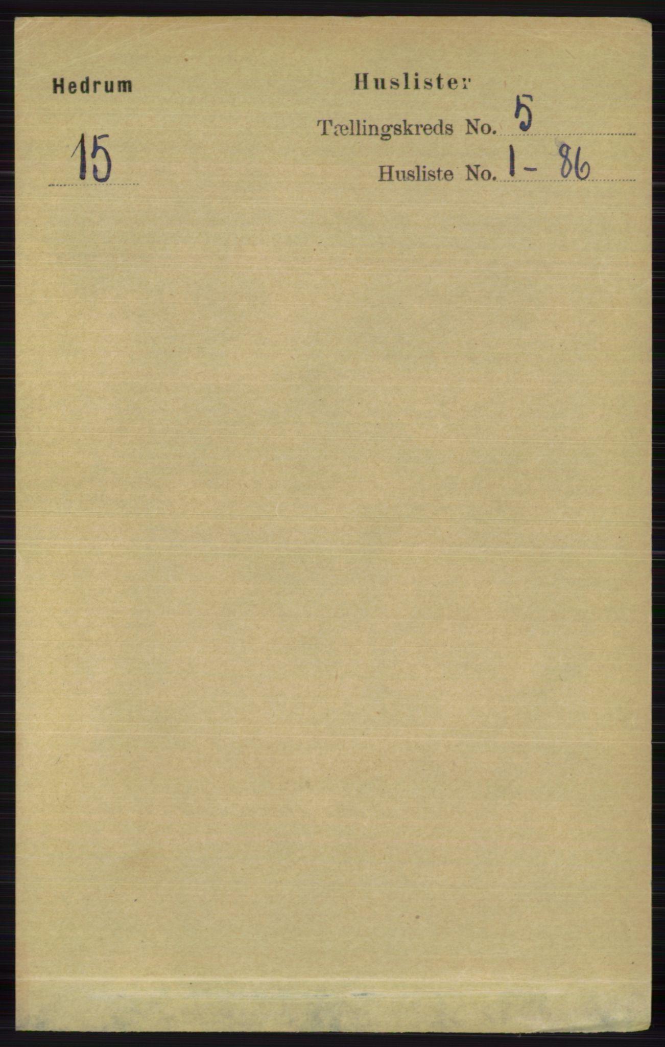 RA, Folketelling 1891 for 0727 Hedrum herred, 1891, s. 1875