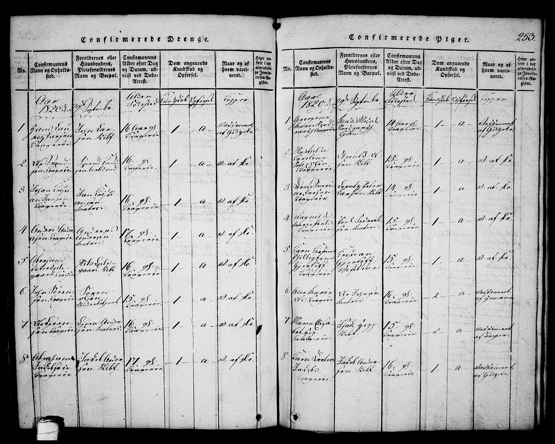 SAKO, Kragerø kirkebøker, G/Ga/L0002: Klokkerbok nr. 2, 1814-1831, s. 253