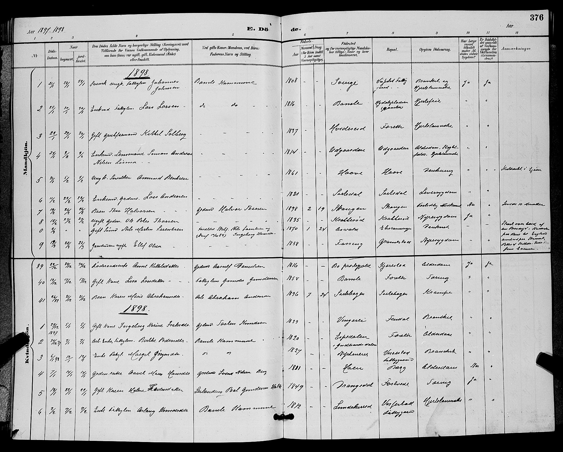 SAKO, Bamble kirkebøker, G/Ga/L0009: Klokkerbok nr. I 9, 1888-1900, s. 376