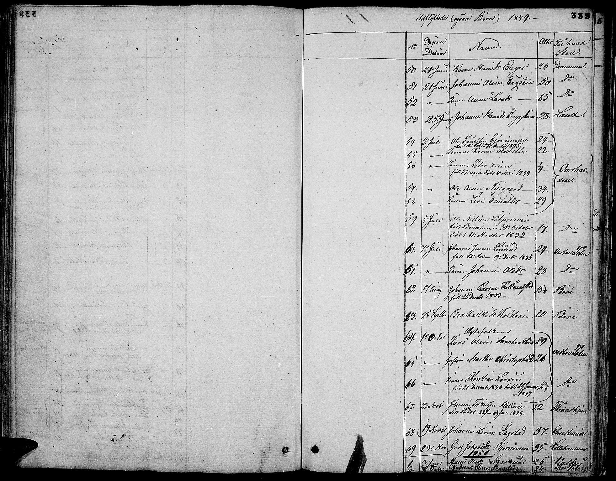 SAH, Vardal prestekontor, H/Ha/Hab/L0004: Klokkerbok nr. 4, 1831-1853, s. 333