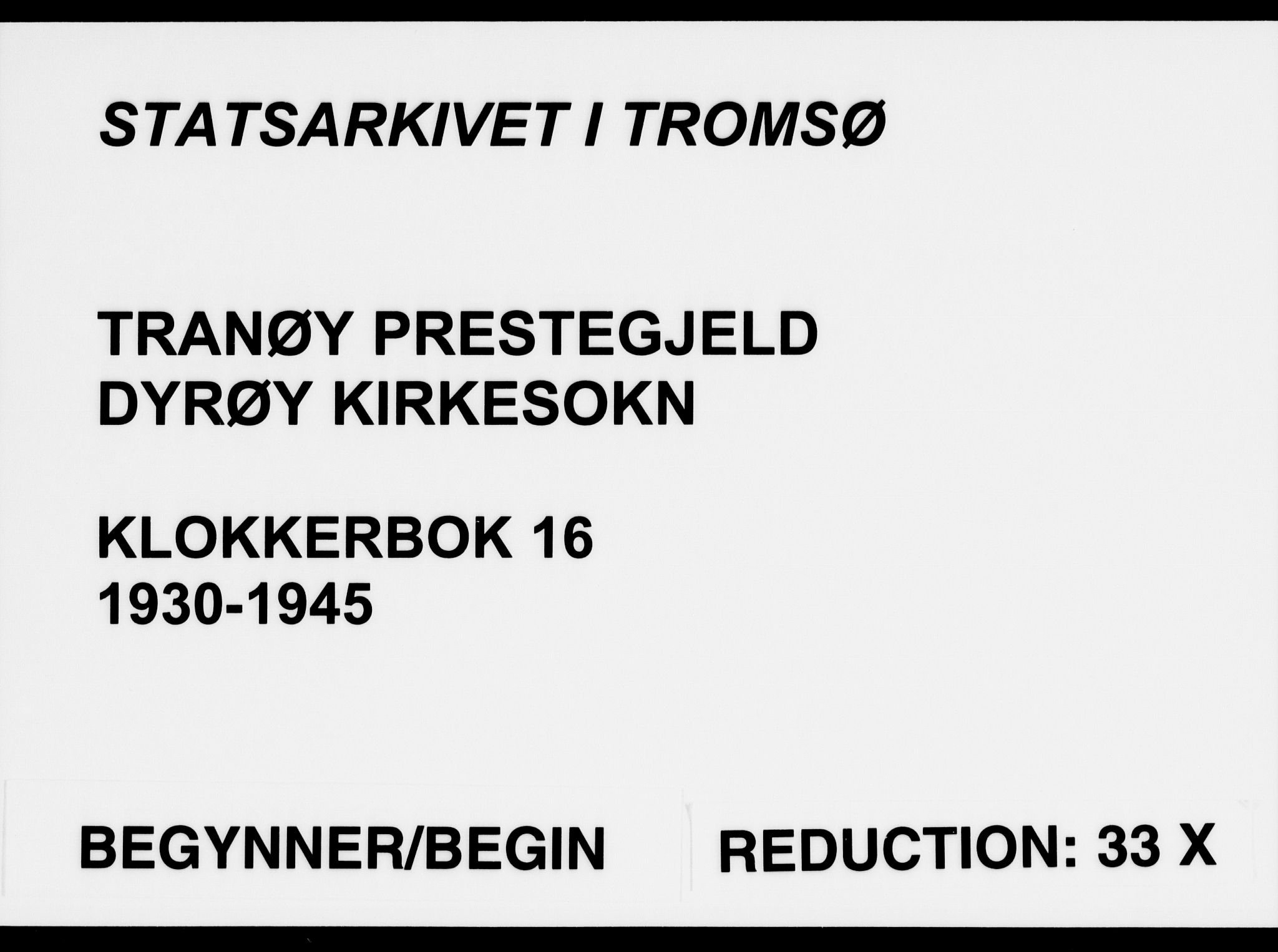 SATØ, Tranøy sokneprestkontor, I/Ia/Iab/L0016klokker: Klokkerbok nr. 16, 1930-1945