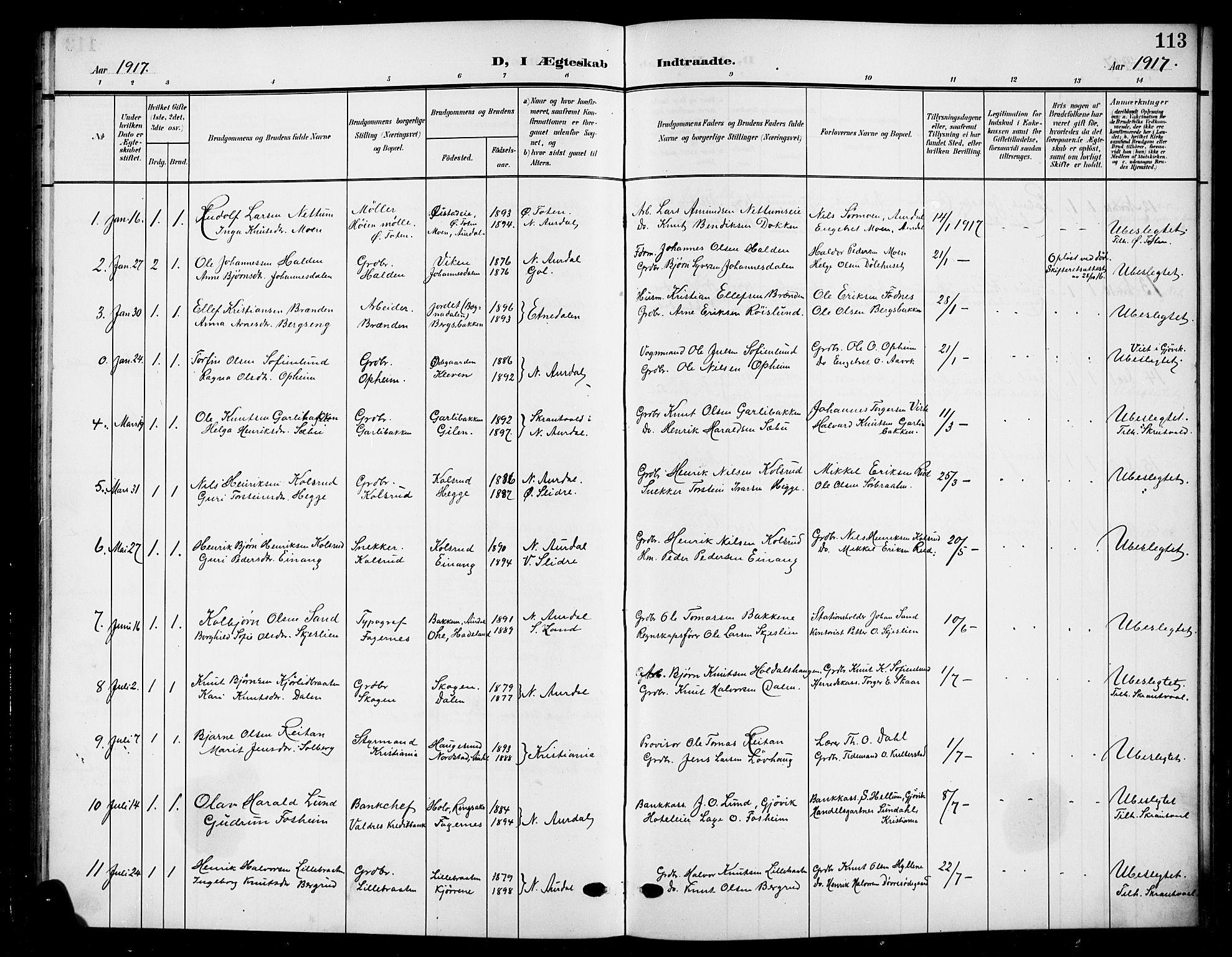 SAH, Nord-Aurdal prestekontor, Klokkerbok nr. 12, 1907-1920, s. 113