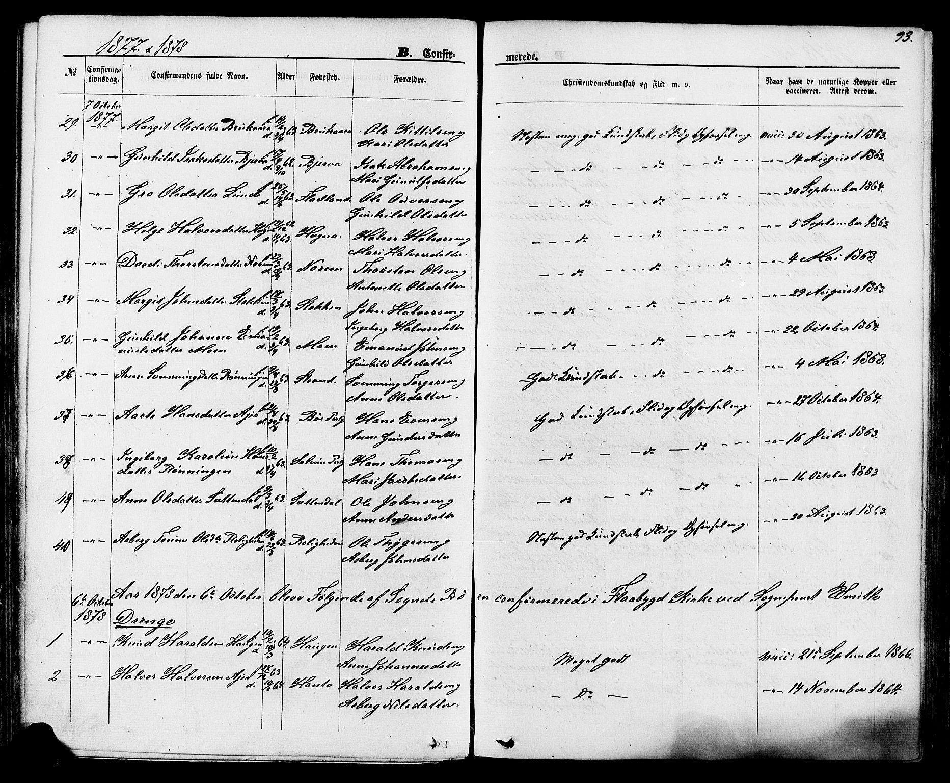 SAKO, Lunde kirkebøker, F/Fa/L0001: Ministerialbok nr. I 1, 1866-1883, s. 93