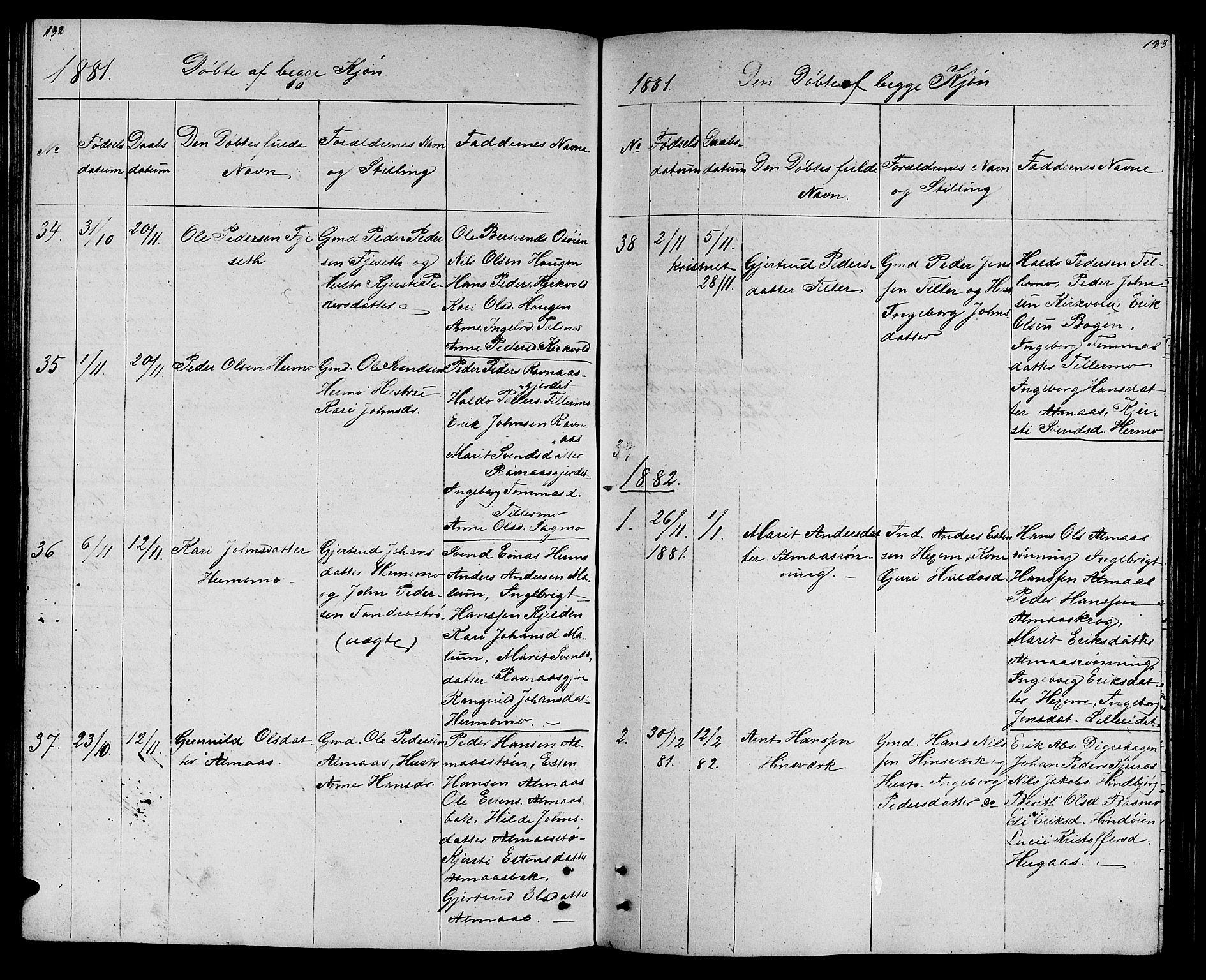 SAT, Ministerialprotokoller, klokkerbøker og fødselsregistre - Sør-Trøndelag, 688/L1027: Klokkerbok nr. 688C02, 1861-1889, s. 132-133