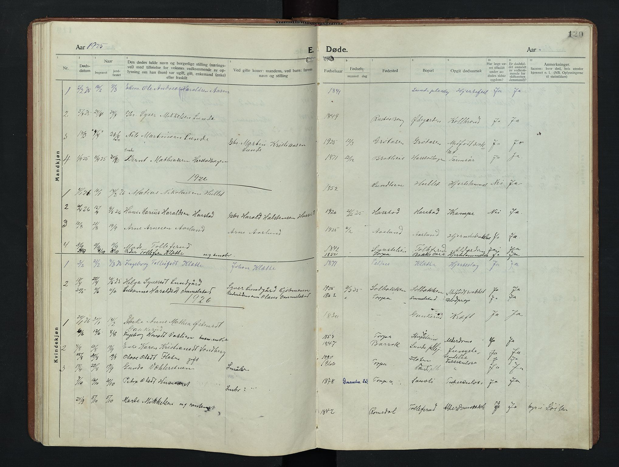 SAH, Nordre Land prestekontor, Klokkerbok nr. 9, 1921-1956, s. 120
