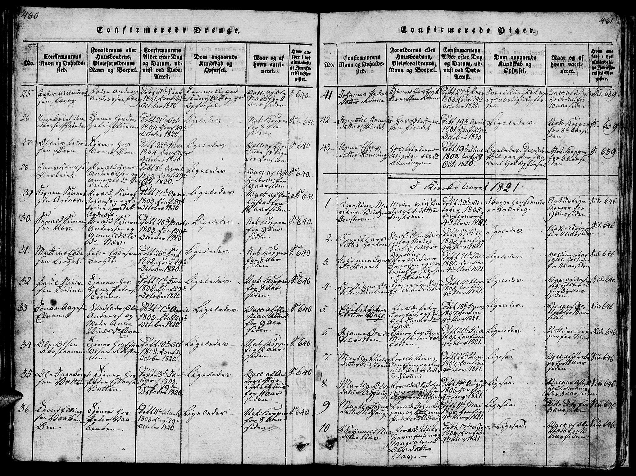 SAT, Ministerialprotokoller, klokkerbøker og fødselsregistre - Sør-Trøndelag, 659/L0744: Klokkerbok nr. 659C01, 1818-1825, s. 460-461