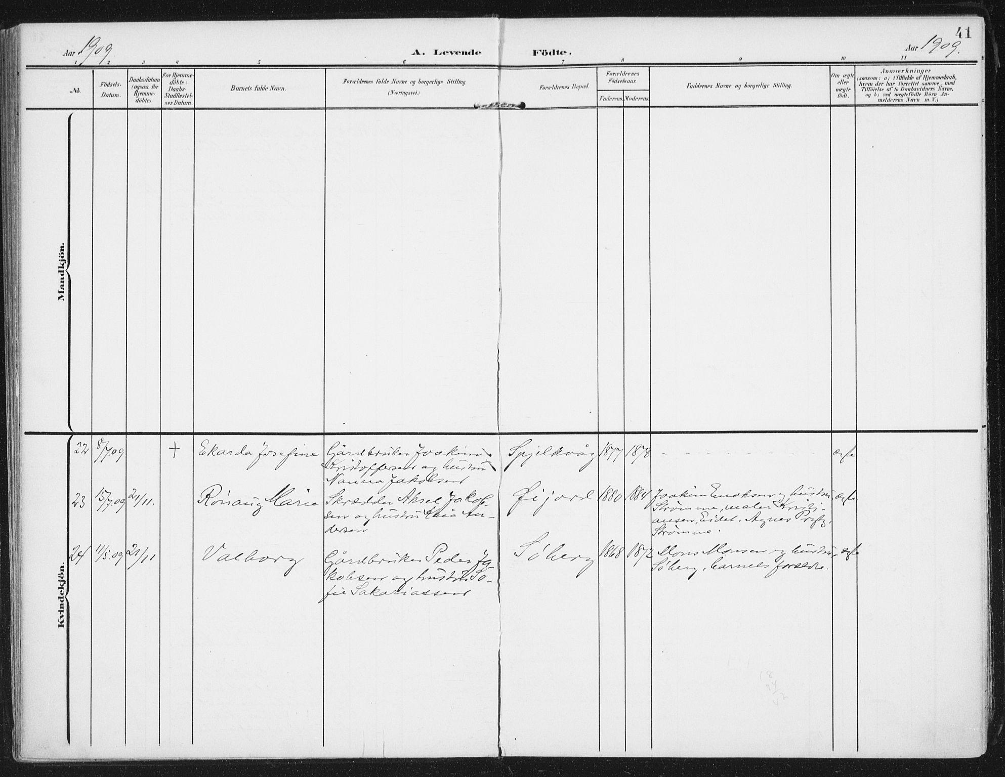 SAT, Ministerialprotokoller, klokkerbøker og fødselsregistre - Nordland, 892/L1321: Ministerialbok nr. 892A02, 1902-1918, s. 41