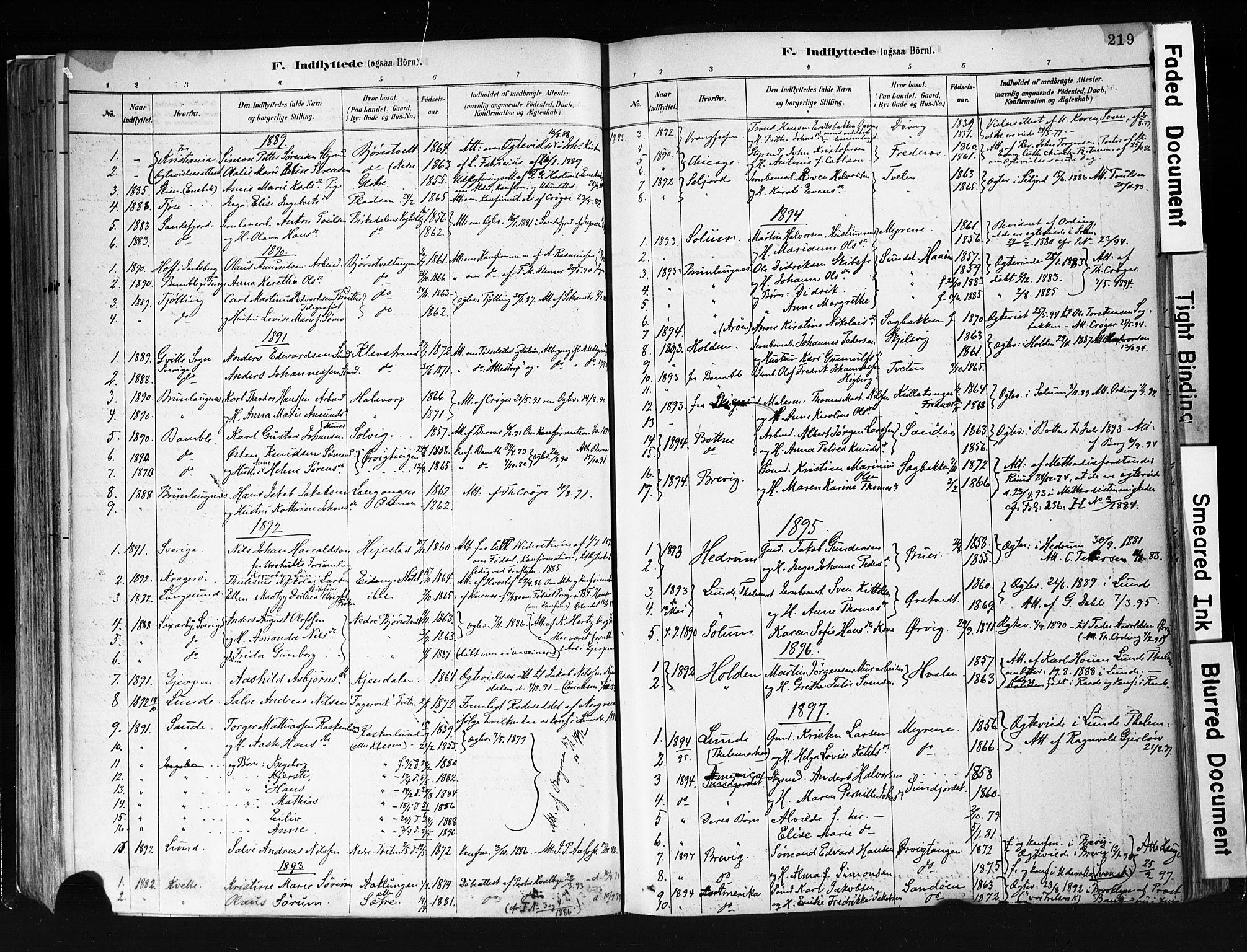 SAKO, Eidanger kirkebøker, F/Fa/L0012: Ministerialbok nr. 12, 1879-1900, s. 219