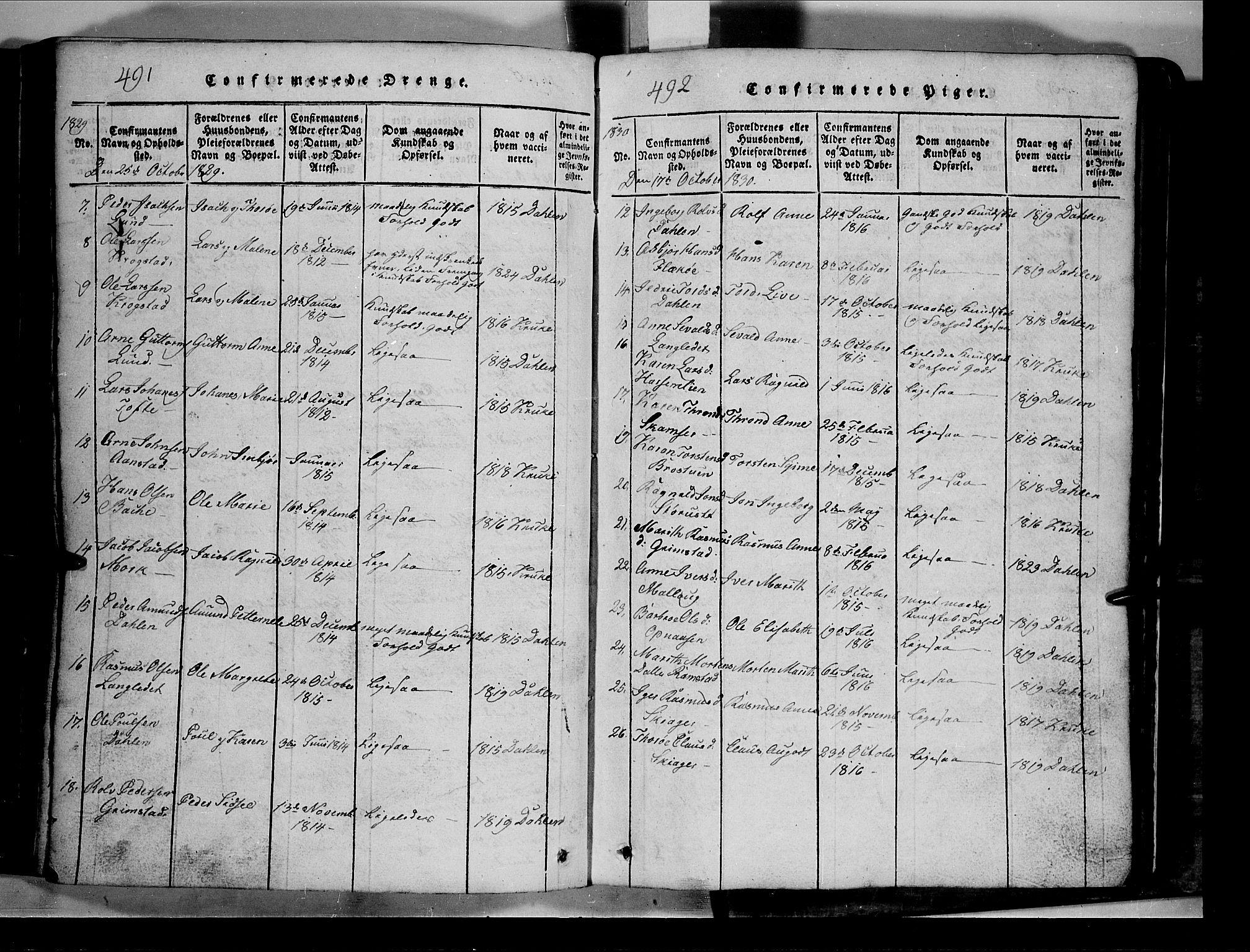 SAH, Lom prestekontor, L/L0003: Klokkerbok nr. 3, 1815-1844, s. 491-492