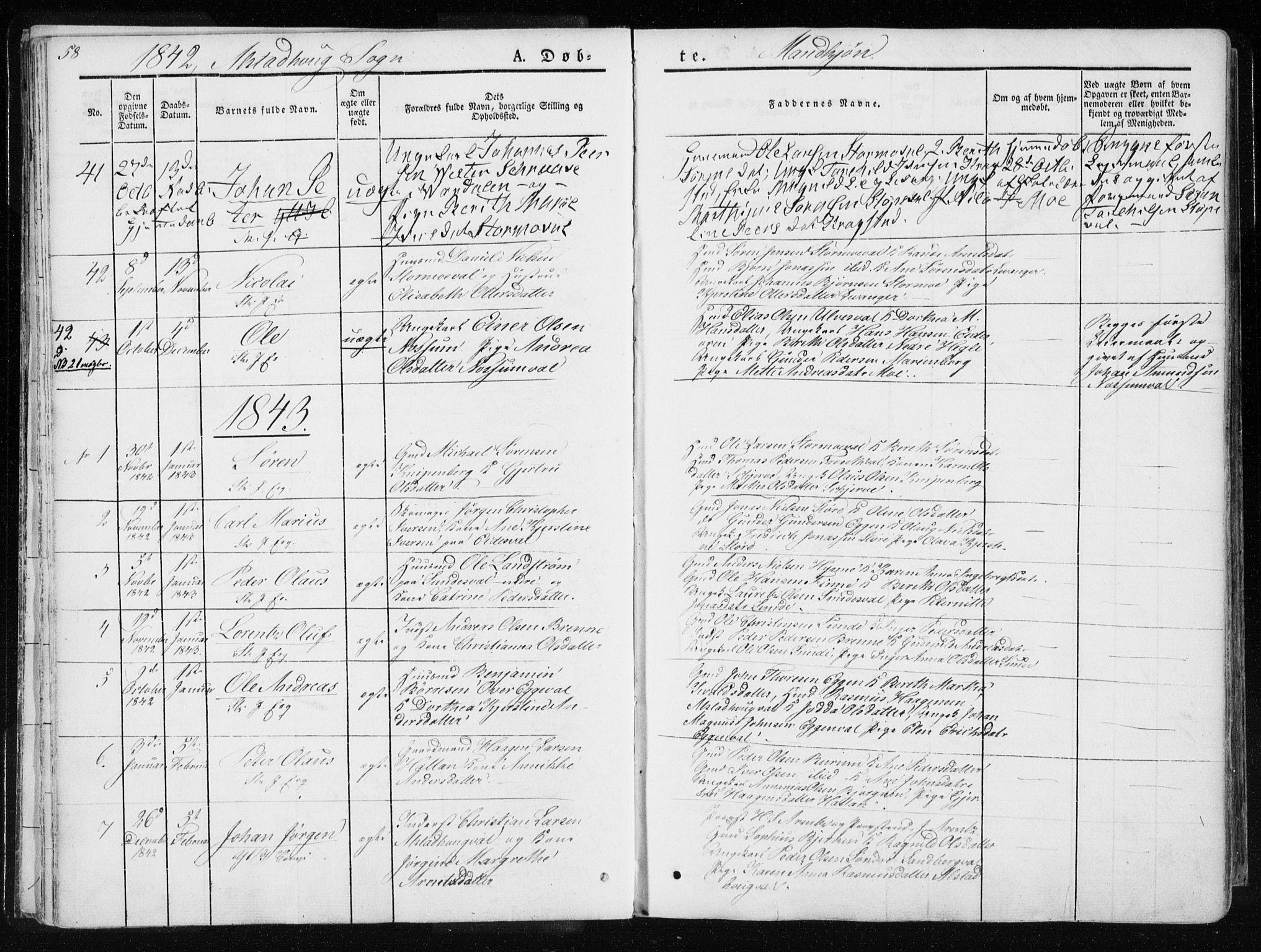 SAT, Ministerialprotokoller, klokkerbøker og fødselsregistre - Nord-Trøndelag, 717/L0154: Ministerialbok nr. 717A06 /1, 1836-1849, s. 58
